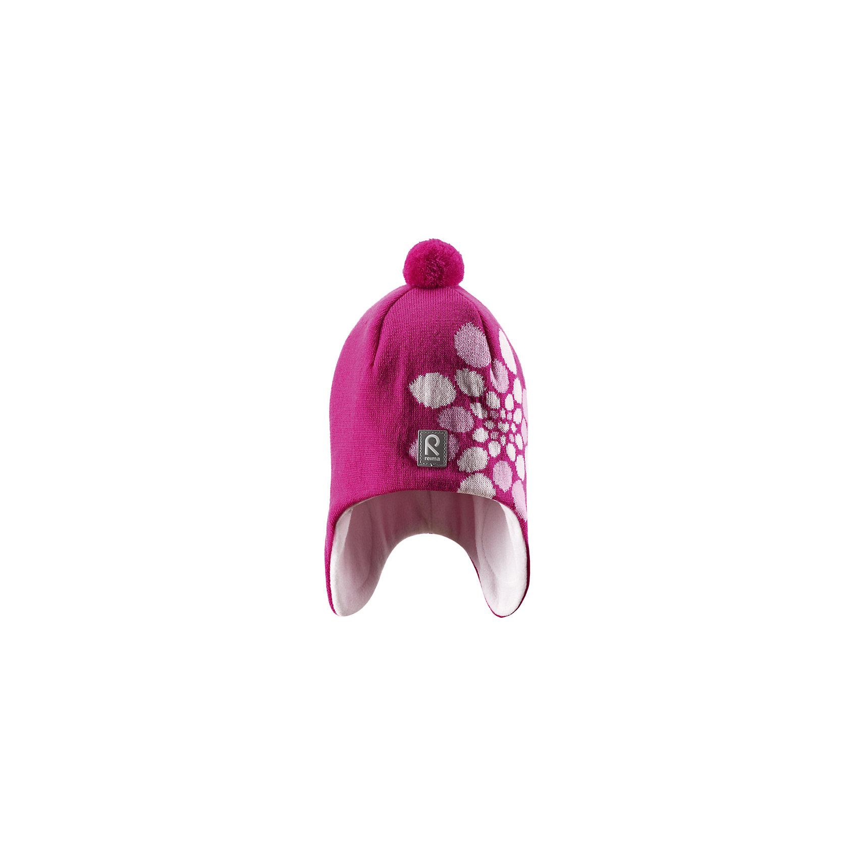 Шапка для девочки ReimaЭта красивая шапочка с цветочным рисунком отлично защитит лоб и шею. Теплая флисовая подкладка.<br><br>Дополнительная информация:<br><br>Состав: 100% Шерсть<br><br>Особенности:<br>подкладка: 100% флис<br>узор с цветами<br>ветронепроницаемые вставки в области ушей<br><br>Шапку для девочки Reima (Рейма) можно купить в нашем магазине.<br><br>Ширина мм: 89<br>Глубина мм: 117<br>Высота мм: 44<br>Вес г: 155<br>Цвет: розовый<br>Возраст от месяцев: 72<br>Возраст до месяцев: 84<br>Пол: Женский<br>Возраст: Детский<br>Размер: 54,56,52,50<br>SKU: 3925284