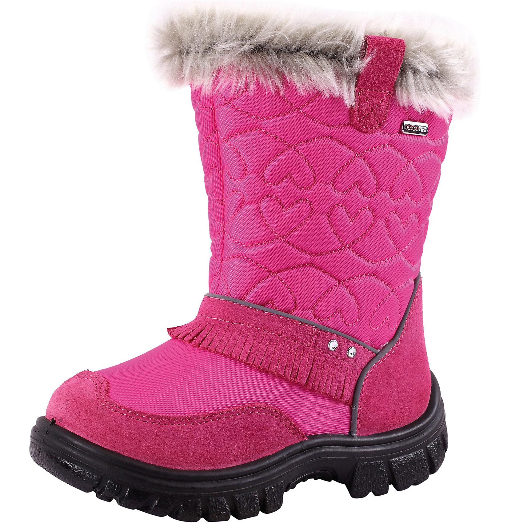 Ботинки для девочки Reimatec® ReimaОбувь<br>Ботинки Reimatec (Рейматек) для девочки от популярной финской марки Reima.<br>Состав:<br>Подошва: ПУ, Верх: 75% ПА 25% Кожа<br><br>Особенности:<br>мягкие и удобные зимние ботинки Reimatec (Рейматек) для маленьких принцесс<br>ботинки украшены декоративными стразами с бахромой<br>верх выполнен из натуральной замши и текстиля<br>водонепроницаемые ботинки с подкладкой из искусственного меха сохраняют ноги в тепле и сухости<br>подошва из полиуретана обеспечивает хорошую термоизоляцию<br>съемные стельки помогают подобрать правильный размер<br>светоотражающие детали<br><br>Дополнительная информация:<br><br>Температурный режим: до -20<br><br>Ботинки для девочки Reimatec (Рейматек) Reima (Рейма) можно купить в нашем магазине.<br><br>Ширина мм: 257<br>Глубина мм: 180<br>Высота мм: 130<br>Вес г: 420<br>Цвет: розовый<br>Возраст от месяцев: 24<br>Возраст до месяцев: 24<br>Пол: Женский<br>Возраст: Детский<br>Размер: 25,33,32,34,30,27,26,28,31,24<br>SKU: 3925348