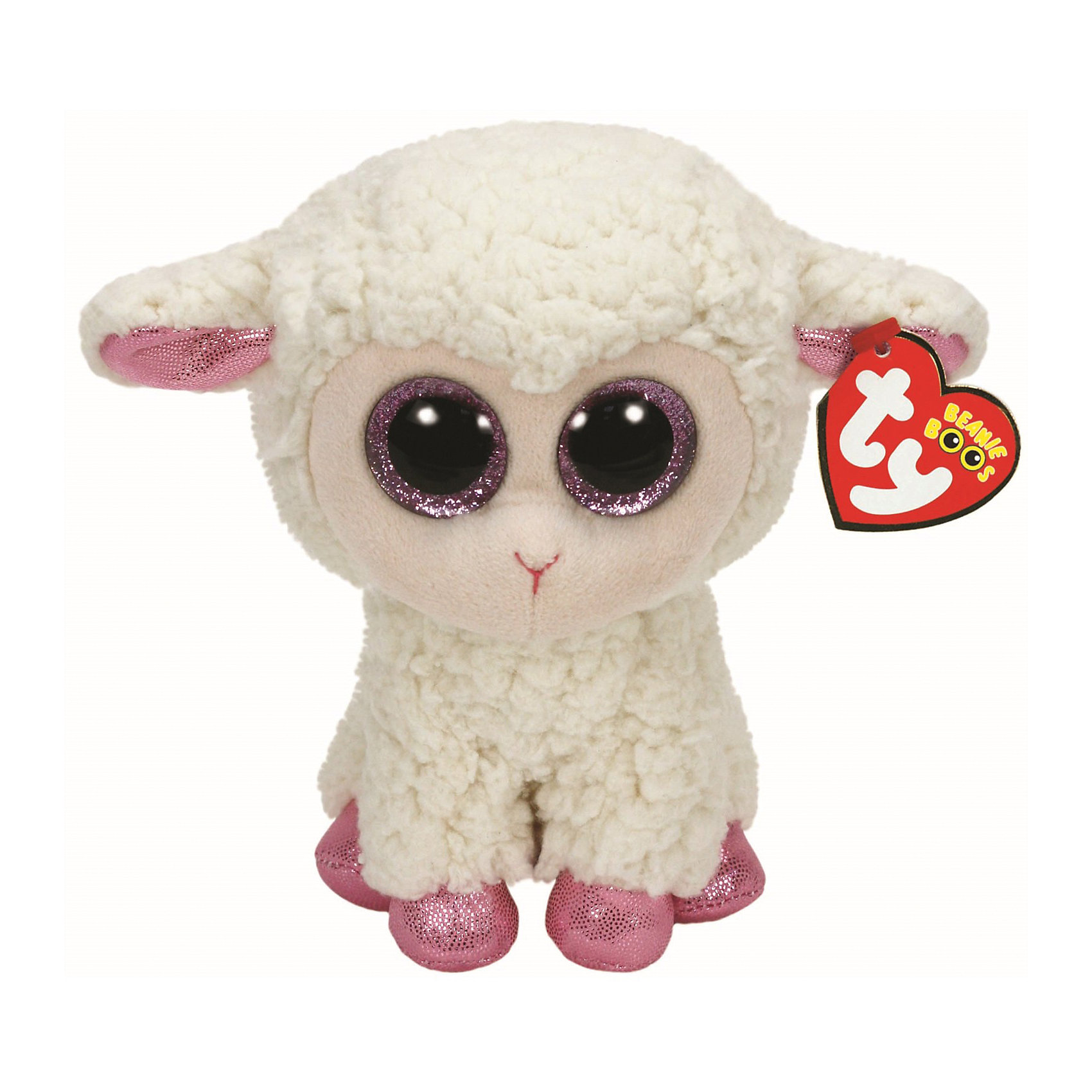 Ty Овечка белая с розовыми копытцами, 15 см, Ty ty frizzy домовёнок tang 15 см 37138