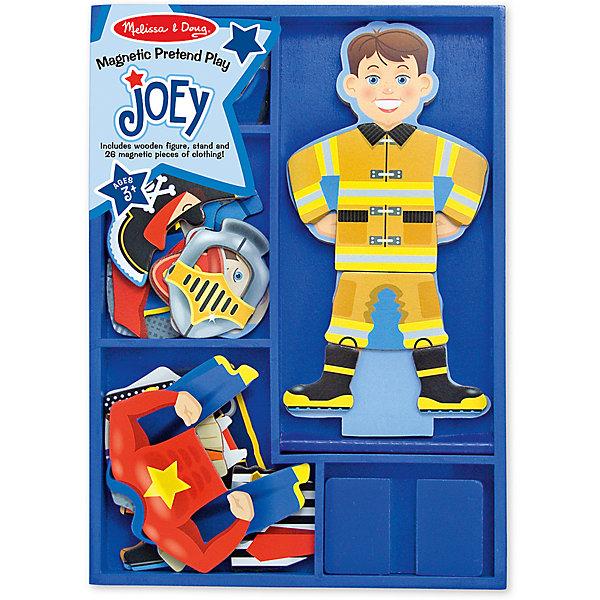 Магнитная игра Переодень Джо, Melissa &amp; DougОкружающий мир<br>Увлекательная игра Переодень Джо от известного бренда Melissa &amp; Doug для мальчика. Набор включает в себя деревянную магнитную фигурку и 6 комплектов одежды на магнитах, которые позволят превратить Джо в кого угодно! Ребенок сам сможет выбрать, кто пришел к нему в гости - строитель, пират, рыцарь, супергерой, пожарный или полицейский. Игра весело и непринужденно помогает развить фантазию, логику, воображение и мелкую моторику. Обладает следующими особенностями:<br>- экологически чистые материалы, безопасные красители;<br>- насыщенные цвета, понятные изображения;<br>- прочная деревянная коробка для хранения.<br>Игра не оставит равнодушным ни одного мальчишку!<br><br>Дополнительная информация:<br>- Вес упаковки: 815 гр;<br>- Габариты упаковки: 300х210х30 мм;<br>- Рекомендуемый возраст: от 1 года с участием взрослых (содержит мелкие детали).<br><br><br>Магнитную игру Переодень Джо Melissa &amp; Doug можно купить в нашем магазине<br><br>Ширина мм: 300<br>Глубина мм: 210<br>Высота мм: 30<br>Вес г: 815<br>Возраст от месяцев: 24<br>Возраст до месяцев: 60<br>Пол: Унисекс<br>Возраст: Детский<br>SKU: 3927698