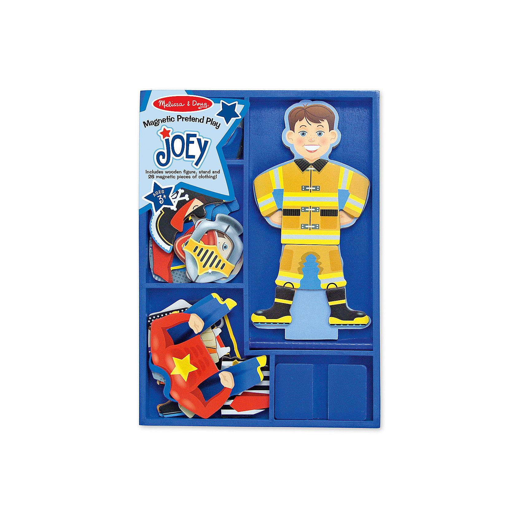 Магнитная игра Переодень Джо, Melissa &amp; DougРазвивающие игры<br>Увлекательная игра Переодень Джо от известного бренда Melissa &amp; Doug для мальчика. Набор включает в себя деревянную магнитную фигурку и 6 комплектов одежды на магнитах, которые позволят превратить Джо в кого угодно! Ребенок сам сможет выбрать, кто пришел к нему в гости - строитель, пират, рыцарь, супергерой, пожарный или полицейский. Игра весело и непринужденно помогает развить фантазию, логику, воображение и мелкую моторику. Обладает следующими особенностями:<br>- экологически чистые материалы, безопасные красители;<br>- насыщенные цвета, понятные изображения;<br>- прочная деревянная коробка для хранения.<br>Игра не оставит равнодушным ни одного мальчишку!<br><br>Дополнительная информация:<br>- Вес упаковки: 815 гр;<br>- Габариты упаковки: 300х210х30 мм;<br>- Рекомендуемый возраст: от 1 года с участием взрослых (содержит мелкие детали).<br><br><br>Магнитную игру Переодень Джо Melissa &amp; Doug можно купить в нашем магазине<br><br>Ширина мм: 300<br>Глубина мм: 210<br>Высота мм: 30<br>Вес г: 815<br>Возраст от месяцев: 24<br>Возраст до месяцев: 60<br>Пол: Унисекс<br>Возраст: Детский<br>SKU: 3927698