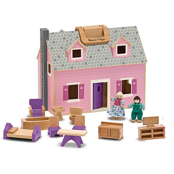 Домик для кукол, Melissa &amp; DougДомики для кукол<br>Потрясающая игрушка для девочки - деревянный домик для кукол от известного бренда Melissa &amp; Doug. В этом замечательном двухэтажном розовом домике живут 2 деревянных человечка с подвижными деталями. Также в наборе есть 11 предметов мебели из дерева - кровать, кресло, стол, стулья и т.д. Домик можно раскрыть посередине, чтобы было удобнее играть, либо закрыть и перенести куда-либо с помощью ручки. Игрушка обладает следующими особенностями:<br>- экологически чистые материалы, безопасные красители;<br>- приятная расцветка;<br>- надежные замочки, удобная ручка;<br>- в комплекте: 1 домик, 2 куколки и 11 предметов мебели - все выполнено из дерева.<br>Мечта каждой девочки!<br><br>Дополнительная информация:<br>- вес: 2107 гр;<br>- габариты: 270х340х200 мм;<br>- рекомендуемый возраст: от 3 лет.<br><br>Домик для кукол Melissa &amp; Doug можно купить в нашем магазине<br><br>Ширина мм: 270<br>Глубина мм: 340<br>Высота мм: 200<br>Вес г: 2107<br>Возраст от месяцев: 36<br>Возраст до месяцев: 72<br>Пол: Женский<br>Возраст: Детский<br>SKU: 3927701