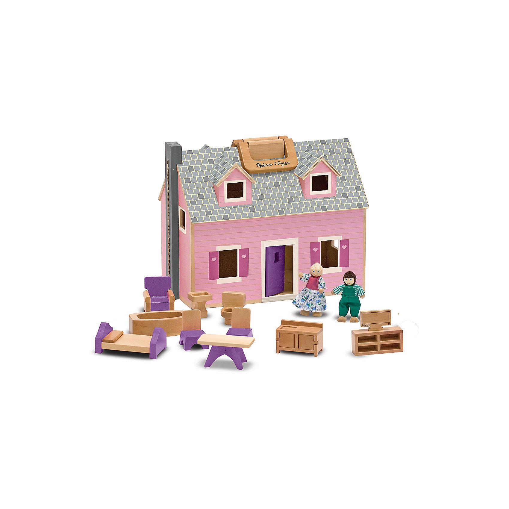 Домик для кукол, Melissa &amp; DougИдеи подарков<br>Потрясающая игрушка для девочки - деревянный домик для кукол от известного бренда Melissa &amp; Doug. В этом замечательном двухэтажном розовом домике живут 2 деревянных человечка с подвижными деталями. Также в наборе есть 11 предметов мебели из дерева - кровать, кресло, стол, стулья и т.д. Домик можно раскрыть посередине, чтобы было удобнее играть, либо закрыть и перенести куда-либо с помощью ручки. Игрушка обладает следующими особенностями:<br>- экологически чистые материалы, безопасные красители;<br>- приятная расцветка;<br>- надежные замочки, удобная ручка;<br>- в комплекте: 1 домик, 2 куколки и 11 предметов мебели - все выполнено из дерева.<br>Мечта каждой девочки!<br><br>Дополнительная информация:<br>- вес: 2107 гр;<br>- габариты: 270х340х200 мм;<br>- рекомендуемый возраст: от 3 лет.<br><br>Домик для кукол Melissa &amp; Doug можно купить в нашем магазине<br><br>Ширина мм: 270<br>Глубина мм: 340<br>Высота мм: 200<br>Вес г: 2107<br>Возраст от месяцев: 36<br>Возраст до месяцев: 72<br>Пол: Женский<br>Возраст: Детский<br>SKU: 3927701
