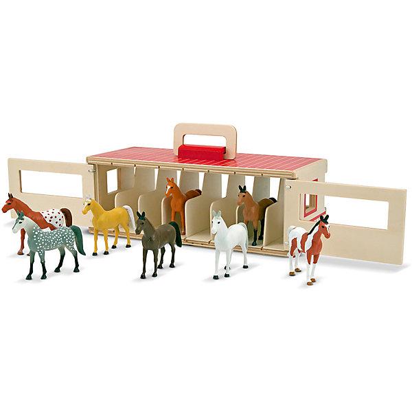 Стойло для 8 лошадей, Melissa &amp; DougИдеи подарков<br>Нет на свете ребенка, равнодушного к лошадям. Девочки восхищаются их грацией, мальчики - силой и выносливостью. Представляем вам прекрасную игрушку - стойло для 8 лошадей от популярного бренда Melissa &amp; Doug. В набор входит прекрасное деревянное стойло на 8 кабинок с открывающимися дверцами, а также 8 восхитительных лошадок. Игрушка развивает фантазию, мелкую моторику, воображение, а также обучает счету и цветам. Обладает следующими особенностями:<br>- экологически чистые материалы, безопасные красители;<br>- яркие цвета;<br>- надежные замочки, удобная ручка;<br>- в комплекте: 1 стойло, 8 лошадей - все выполнено из дерева.<br>Потрясающая игрушка для ребенка!<br><br>Дополнительная информация:<br>- вес: 2356 гр;<br>- габариты: 120х330х130 мм;<br>- рекомендуемый возраст: от 3 лет.<br><br>Стойло для 8 лошадей Melissa &amp; Doug можно купить в нашем магазине<br>Ширина мм: 120; Глубина мм: 330; Высота мм: 130; Вес г: 2356; Возраст от месяцев: 36; Возраст до месяцев: 72; Пол: Унисекс; Возраст: Детский; SKU: 3927702;