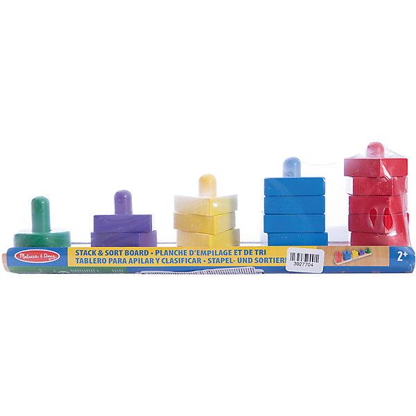 Пирамидки на доске, Melissa &amp; DougДеревянные игрушки<br>Прекрасная развивающая игра - деревянные пирамидки на доске от известного бренда Melissa &amp; Doug для ребенка. Легко и ненавязчиво знакомит малыша с базовыми цветами и геометрическими формами, а также учит считать в пределах 5. Обладает следующими особенностями:<br>- экологически чистые материалы, приятные на ощупь, безопасные красители;<br>- яркие цвета;<br>- доска с 5 штырьками, 15 небольших элементов.<br>Простая и эффективная развивающая игра для малышей.<br><br>Дополнительная информация:<br>- вес: 498 гр;<br>- габариты: 110х330х60 мм;<br>- рекомендуемый возраст: от 6 месяцев с участием взрослых.<br><br>Пирамидки на доске Melissa &amp; Doug можно купить в нашем магазине<br>Ширина мм: 110; Глубина мм: 330; Высота мм: 60; Вес г: 498; Возраст от месяцев: 24; Возраст до месяцев: 60; Пол: Унисекс; Возраст: Детский; SKU: 3927704;