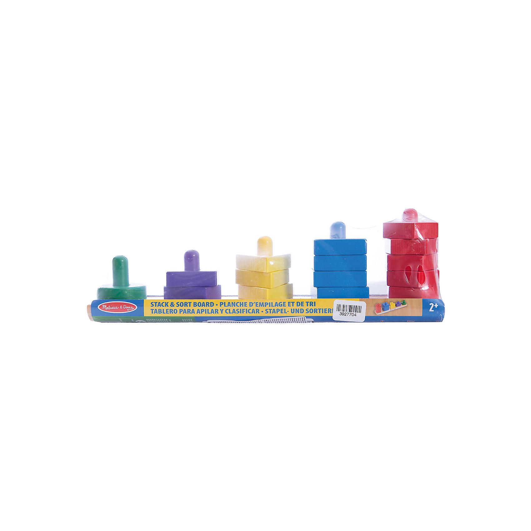 Пирамидки на доске, Melissa &amp; DougПирамидки<br>Прекрасная развивающая игра - деревянные пирамидки на доске от известного бренда Melissa &amp; Doug для ребенка. Легко и ненавязчиво знакомит малыша с базовыми цветами и геометрическими формами, а также учит считать в пределах 5. Обладает следующими особенностями:<br>- экологически чистые материалы, приятные на ощупь, безопасные красители;<br>- яркие цвета;<br>- доска с 5 штырьками, 15 небольших элементов.<br>Простая и эффективная развивающая игра для малышей.<br><br>Дополнительная информация:<br>- вес: 498 гр;<br>- габариты: 110х330х60 мм;<br>- рекомендуемый возраст: от 6 месяцев с участием взрослых.<br><br>Пирамидки на доске Melissa &amp; Doug можно купить в нашем магазине<br><br>Ширина мм: 110<br>Глубина мм: 330<br>Высота мм: 60<br>Вес г: 498<br>Возраст от месяцев: 24<br>Возраст до месяцев: 60<br>Пол: Унисекс<br>Возраст: Детский<br>SKU: 3927704