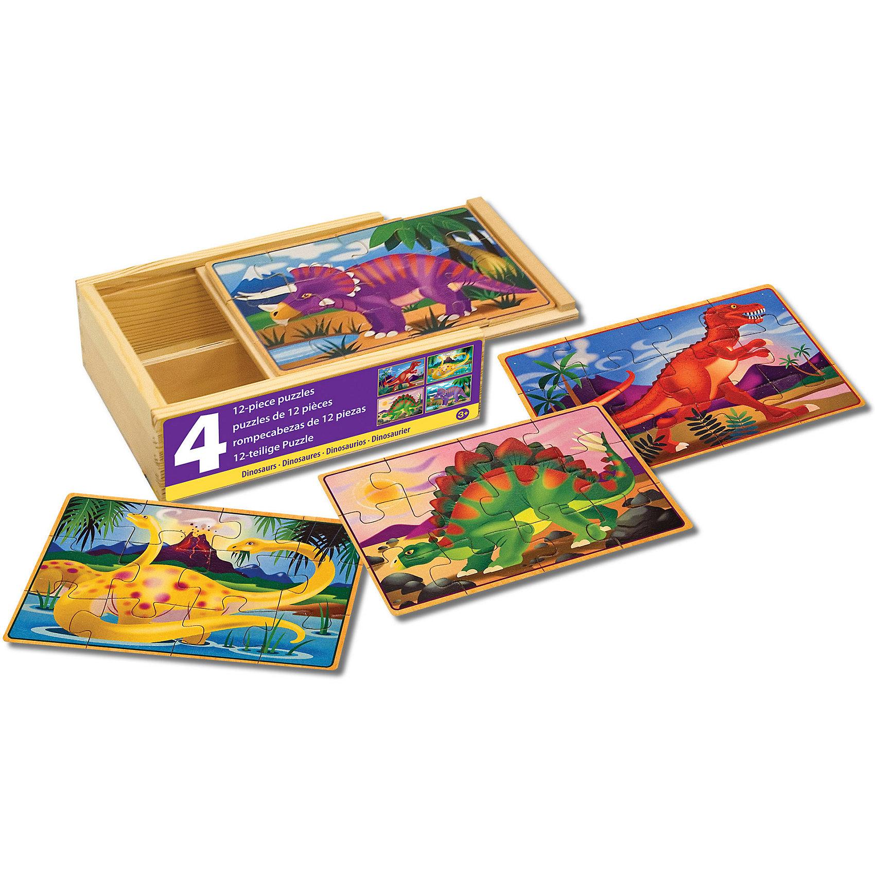 Деревянные пазлы Динозавры, 4х12, Melissa &amp; DougДеревянные пазлы<br>Пазлы - отличная игра! Они активно развивают пространственно-образное мышление и мелкую моторику, учат составлять целое из нескольких частей, активизируют логику и воображение. Деревянные пазлы Динозавры от ведущего мирового производителя детских игрушек - компании Melissa &amp; Doug обладают следующими особенностями:<br>- экологически чистые материалы, приятные на ощупь, безопасные красители;<br>- яркие цвета;<br>- 4 изображения: трицератопс, Т-Рекс, стегозавр и апатозавр; <br>- каждая картинка состоит из 12 частей и обладает своей уникальной кодировкой на обратной стороне, что существенно облегчает сортировку;<br>- прочный деревянный ящик с 4 отсеками - для каждого динозавра свой.<br>Замечательная игра для детей и взрослых!<br><br>Дополнительная информация:<br>- Вес: 453 гр;<br>- Габариты: 150х190х60 мм;<br>- Рекомендуемый возраст: от 1 года с участием взрослых. <br><br>Деревянные пазлы Динозавры Melissa &amp; Doug можно купить в нашем магазине<br><br>Ширина мм: 150<br>Глубина мм: 190<br>Высота мм: 60<br>Вес г: 453<br>Возраст от месяцев: 36<br>Возраст до месяцев: 72<br>Пол: Унисекс<br>Возраст: Детский<br>Количество деталей: 12<br>SKU: 3927705