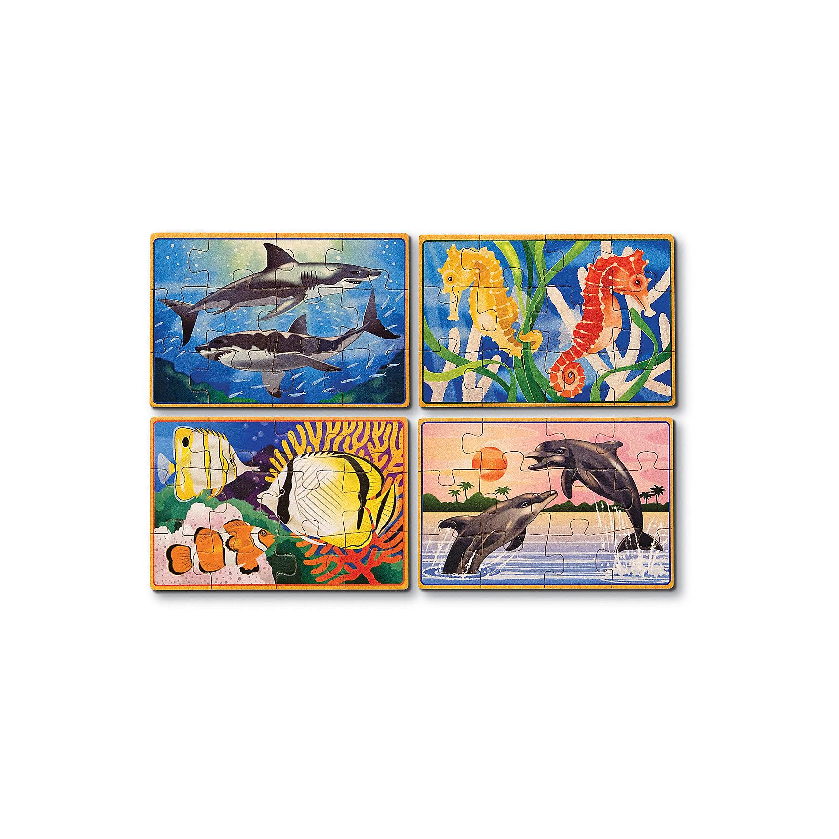 Деревянные пазлы Подводная жизнь, 4х12, Melissa &amp; DougДеревянные пазлы<br>Пазлы - отличная игра! Они активно развивают пространственно-образное мышление и мелкую моторику, учат составлять целое из нескольких частей, активизируют логику и воображение. Деревянные пазлы Подводная жизнь от ведущего мирового производителя детских игрушек - компании Melissa &amp; Doug обладают следующими особенностями:<br>- экологически чистые материалы, приятные на ощупь, безопасные красители;<br>- яркие цвета;<br>- 4 изображения: тропические рыбки, дельфины, акулы и морские коньки; <br>- каждая картинка состоит из 12 частей и обладает своей уникальной кодировкой на обратной стороне, что существенно облегчает сортировку;<br>- прочный деревянный ящик с 4 отсеками - для каждого подводного жителя свой.<br>Замечательная игра для детей и взрослых!<br><br>Дополнительная информация:<br>- Вес: 453 гр;<br>- Габариты: 140х190х60 мм;<br>- Рекомендуемый возраст: от 1 года с участием взрослых. <br><br>Деревянные пазлы Подводная жизнь Melissa &amp; Doug можно купить в нашем магазине<br><br>Ширина мм: 140<br>Глубина мм: 190<br>Высота мм: 60<br>Вес г: 453<br>Возраст от месяцев: 36<br>Возраст до месяцев: 72<br>Пол: Унисекс<br>Возраст: Детский<br>Количество деталей: 12<br>SKU: 3927706