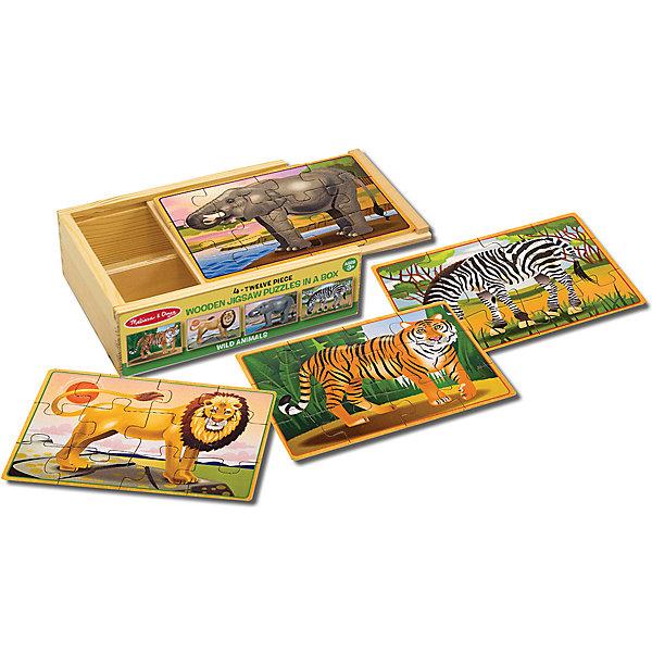 Деревянные пазлы Дикие животные , 4х12, Melissa & Doug, Китай, Унисекс  - купить со скидкой