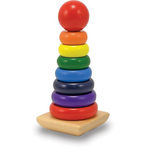 Деревянная пирамидка Melissa&amp;Doug Классические игрушкиРазвивающие игрушки<br>Пожалуй, самая традиционная развивающая игрушка, которая просто обязана быть в каждом доме, где есть малыш - деревянная радужная пирамидка от известного американского бренда  Melissa &amp; Doug. Прекрасно развивает координацию и мелкую моторику, внимательность, терпение, пространственное мышление, логику и память, знакомит с основными цветами, а также с понятиями больше-меньше. Обладает следующими особенностями:<br>- экологически чистые материалы, приятные на ощупь, безопасные красители;<br>- яркие насыщенные цвета;<br>- 7 колец каждого цвета радуги, а также красная круглая верхушка поочередно нанизываются на деревянную основу.<br>Вечная классика в отличном исполнении.<br><br>Дополнительная информация:<br>- вес: 385 гр;<br>- габариты: 200х90х160 мм;<br>- рекомендуемый возраст: от 6 месяцев при участии взрослых;<br>- состав: дерево<br><br>Радужную пирамидку Melissa &amp; Doug можно купить в нашем магазине<br><br>Ширина мм: 200<br>Глубина мм: 90<br>Высота мм: 90<br>Вес г: 385<br>Возраст от месяцев: 24<br>Возраст до месяцев: 60<br>Пол: Унисекс<br>Возраст: Детский<br>SKU: 3927715