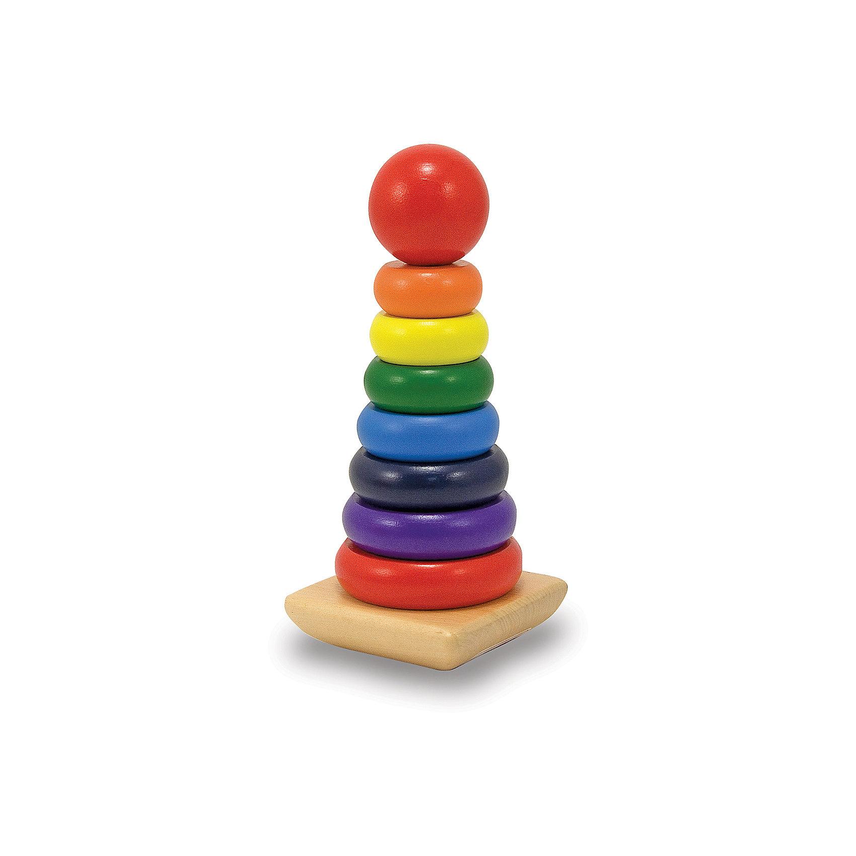Melissa & Doug Радужная пирамидка, Melissa & Doug краснокамская игрушка развивающая пирамидка кольцевая