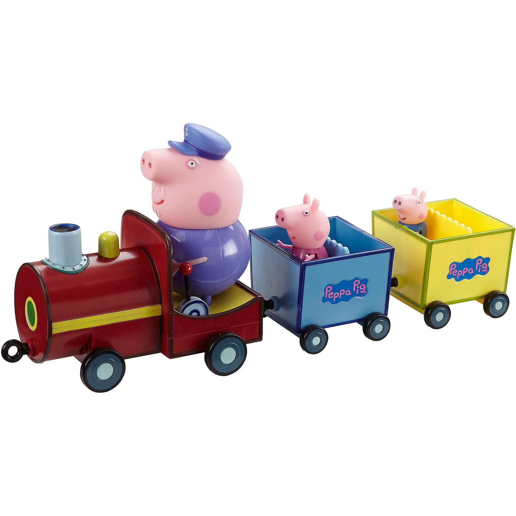 Музыкальный паровозик дедушки Пеппы, Свинка ПеппаМашинки и транспорт для малышей<br>Музыкальный паровозик дедушки Пеппы, Свинка Пеппа - красочная веселая игрушка, которая порадует всех юных поклонников популярного мультсериала Свинка Пеппа (Peppa Pig). Пеппа и Джордж отправились в путешествие на музыкальном паровозике, который ведет их дедушка. К паровозику прицеплены два открытых вагончика, куда можно<br>посадить фигурки Пеппы и Джорджа, они могут сидеть, стоять, двигать ручками и ножками. Фигурка дедушки в паровозике несъемная, при нажатии на его голову воспроизводятся<br>фразы и песенка из мультфильма. Увлекательная игрушка подарит детям удовольствие, помогая им осваивать навыки общения, приобщаться к семейным ценностям и развивать<br>фантазию. <br><br>Дополнительная информация:<br><br>- В комплекте: паровозик, 2 вагончика, фигурки Пеппы и Джорджа съемные, фигурка дедушки не съемная.<br>- Материал: пластик.<br>- Требуются батарейки: 3 х ААА (в набор не входят).<br>- Размер фигурок: Пеппа - 5 см., Джордж - 4 см.<br>- Размер упаковки: 35 х 16 х 11  см. <br>- Вес: 0,45 кг.<br><br>Музыкальный паровозик дедушки Пеппы, Свинка Пеппа можно купить в нашем интернет-магазине.<br><br>Ширина мм: 500<br>Глубина мм: 25<br>Высота мм: 525<br>Вес г: 1000<br>Возраст от месяцев: 36<br>Возраст до месяцев: 84<br>Пол: Унисекс<br>Возраст: Детский<br>SKU: 3930282