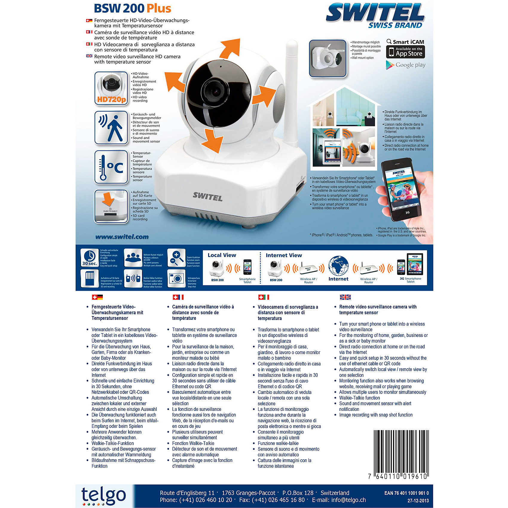 Видеоняня HD Wi-Fi BSW200, Switel от myToys