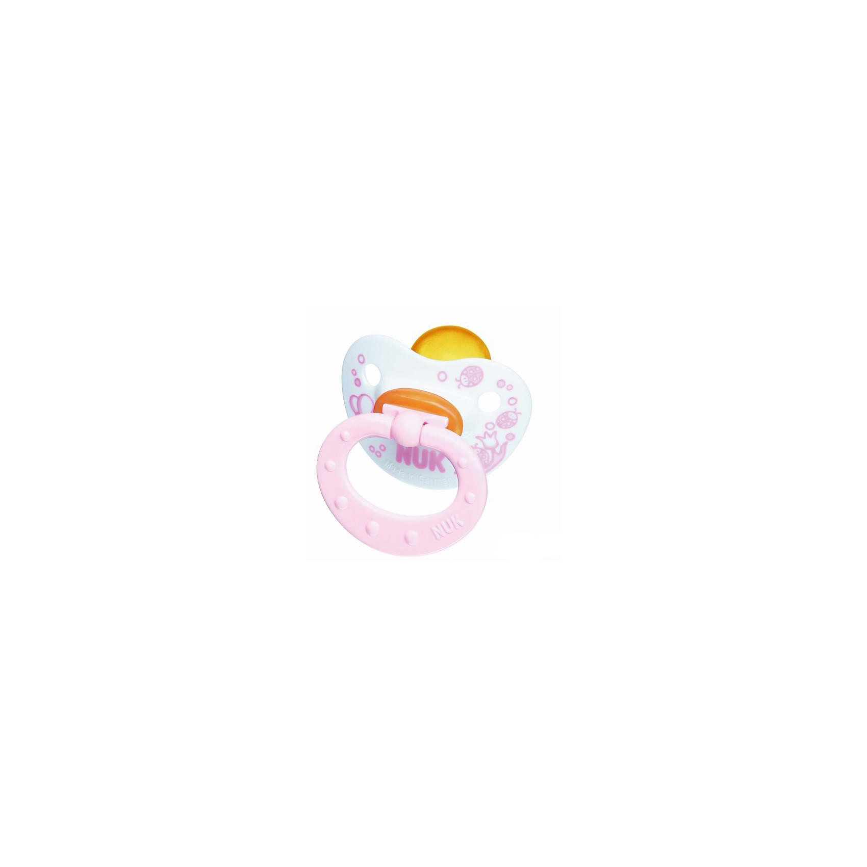 Пустышка для сна с кольцом Латекс, р. 1, Baby Rose, NUKПустышка для сна имеет ортодонтическую форму, что обеспечивает правильное формирование прикуса и челюстно-лицевого аппарата. Пустышка идеально прилегает к лицу и подходит по форме к ротовой полости малыша. Клапанная система NUK AIR SYSTEM позволяет воздуху выходить через специальное отверстие, поэтому, пустышка сохраняет свою форму и мягкость. В загубнике есть два симметричных отверстия, которые обеспечивают крохе легкое дыхание ночью. Кольцо пустышки складывается, благодаря этому она не сдавливает лицо малыша во время сна. Пустышка выполнена из гипоаллергенных материалов безопасных для детей.<br><br>Дополнительная информация:<br><br>- Материал: латекс, пластик.<br>- Размер: 1<br>- Цвет: нежно-розовый, белый. <br>- Клапанная система NUK AIR SYSTEM.<br><br>Пустышку для сна с кольцом Латекс, р. 1, Baby Rose, NUK можно купить в нашем магазине.<br><br>Ширина мм: 110<br>Глубина мм: 200<br>Высота мм: 130<br>Вес г: 30<br>Возраст от месяцев: 0<br>Возраст до месяцев: 6<br>Пол: Женский<br>Возраст: Детский<br>SKU: 3932414