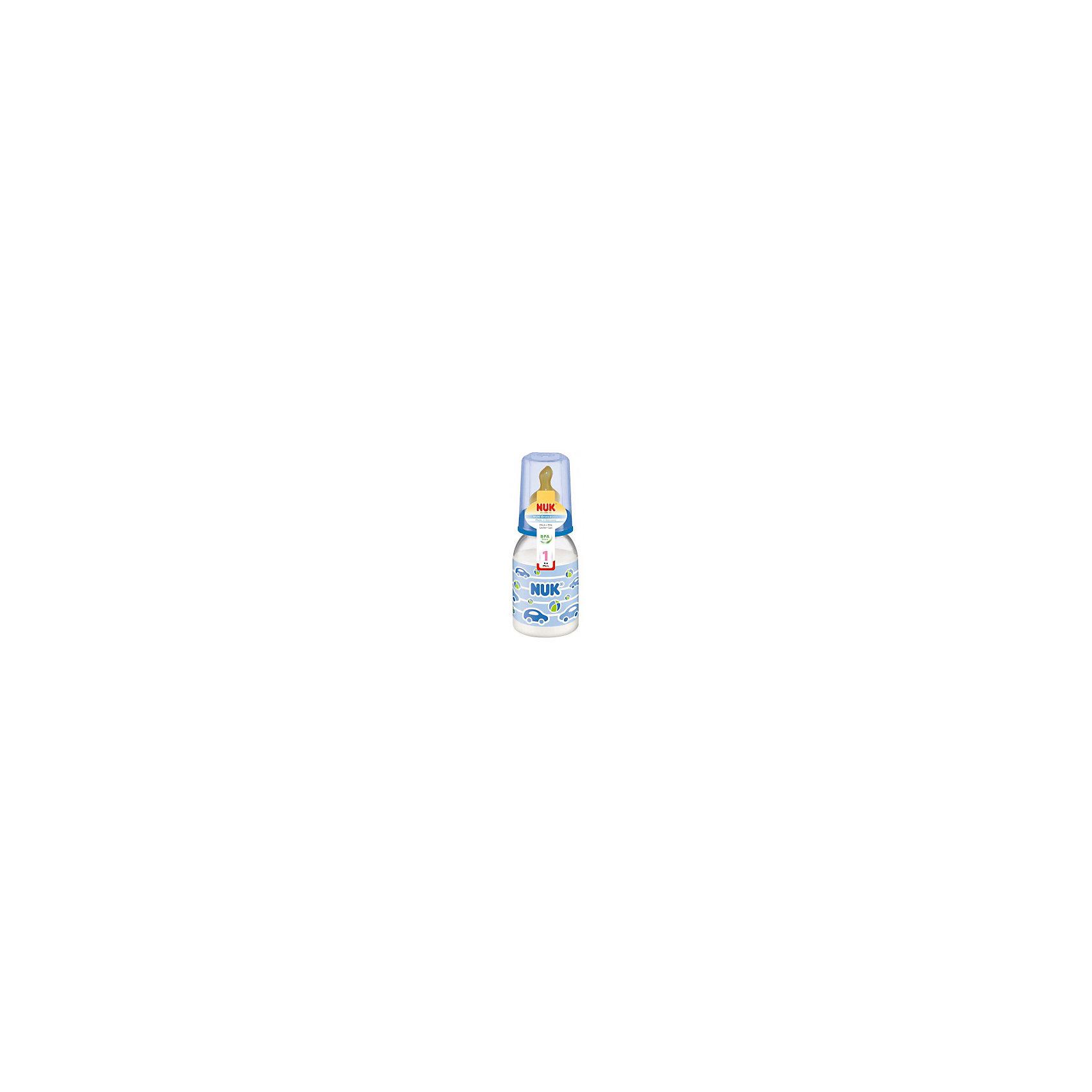 Бутылочка полипропиленовая (110 мл) с латексной соской, NUKБутылочки и аксессуары<br>Обеспечить ребенку правильное и комфортное питание - одна из важнейших задач родителей. Современные технологии помогают это сделать достаточно легко. Пример тому: эта бутылочка со специальной соской.<br>Бутылочка имеет удобную форму, она герметична и сделана из безопасного даже для самых маленьких пластика. Соска произведена из латекса - на сегодняшний день это один из лучших материалов для производства сосок. Она имеет отверстие, рассчитанное на жидкое питание. Форма соски позволяет обеспечить малышу комфорт при питании, а также предотвратить заглатывание воздуха и образование колик. Подарите удобство себе и ребенку!<br><br>Дополнительная информация:<br><br>цвет: разноцветный;<br>материал: пластик, латекс;<br>возраст ребенка: от рождения до 6 месяцев;<br>противоколиковый клапан;<br>для жидких продуктов;<br>объем: 110 мл.<br><br>Бутылочку полипропиленовую (110 мл) с латексной соской от компании NUK можно купить в нашем магазине.<br><br>Ширина мм: 55<br>Глубина мм: 55<br>Высота мм: 100<br>Вес г: 120<br>Возраст от месяцев: -2147483648<br>Возраст до месяцев: 2147483647<br>Пол: Унисекс<br>Возраст: Детский<br>SKU: 3932428