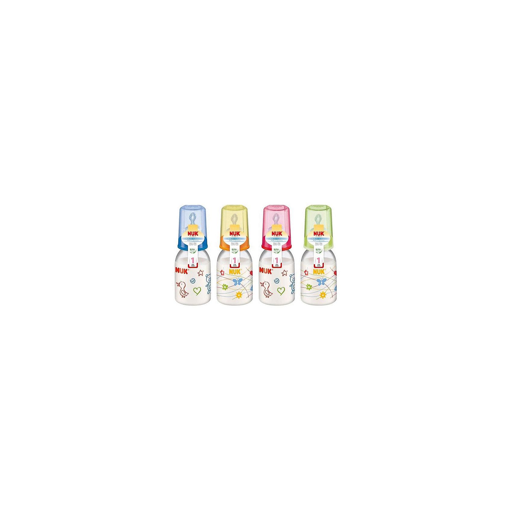 Бутылочка полипропиленовая (110 мл) с силиконовой соской, NUKОбеспечить ребенку правильное и комфортное питание - одна из важнейших задач родителей. Современные технологии помогают это сделать достаточно легко. Пример тому: эта бутылочка со специальной соской.<br>Бутылочка имеет удобную форму, она герметична и сделана из безопасного даже для самых маленьких пластика. Соска произведена из силикона - на сегодняшний день это один из лучших материалов для производства сосок. Она имеет отверстие, рассчитанное на жидкое питание. Форма соски позволяет обеспечить малышу комфорт при питании, а также предотвратить заглатывание воздуха и образование колик. Подарите удобство себе и ребенку!<br><br>Дополнительная информация:<br><br>цвет: разноцветный;<br>материал: пластик, силикон;<br>возраст ребенка: от рождения до 6 месяцев;<br>противоколиковый клапан;<br>для жидких продуктов;<br>объем: 110 мл.<br><br>Бутылочку полипропиленовую (110 мл) с силиконовой соской от компании NUK можно купить в нашем магазине.<br><br>Ширина мм: 55<br>Глубина мм: 55<br>Высота мм: 100<br>Вес г: 120<br>Возраст от месяцев: -2147483648<br>Возраст до месяцев: 2147483647<br>Пол: Унисекс<br>Возраст: Детский<br>SKU: 3932429