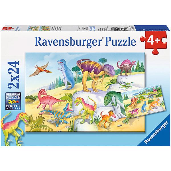 Пазл «Красочные динозавры», 2х24 деталей, RavensburgerПазлы для малышей<br>Собрать пазл Красочные динозавры будет не только интересно, но и полезно для вашего ребёнка. Сборка картинки поспособствует развитию моторики рук, логического мышления и памяти. Детали пазла абсолютно безопасны, так как сделаны из экологического сырья. Ребёнок может собрать картинку самостоятельно, ведь все детали очень качественные и не будут расклеиваться при использовании. Так же красочные динозавры не потускнеют со временем и долго будут радовать вашего малыша. <br><br>В товар входит:<br>-24 деталей<br><br>Дополнительная информация:<br>-Размер картинки –18х26 см. <br>-Возраст: от 4 лет<br>-Для мальчиков и девочек<br>-Состав: картон, бумага<br>-Бренд: Ravensburger (Равенсбургер)<br>-Страна обладатель бренда: Германия<br><br>Ширина мм: 278<br>Глубина мм: 189<br>Высота мм: 39<br>Вес г: 279<br>Возраст от месяцев: 48<br>Возраст до месяцев: 72<br>Пол: Мужской<br>Возраст: Детский<br>Количество деталей: 24<br>SKU: 3933954