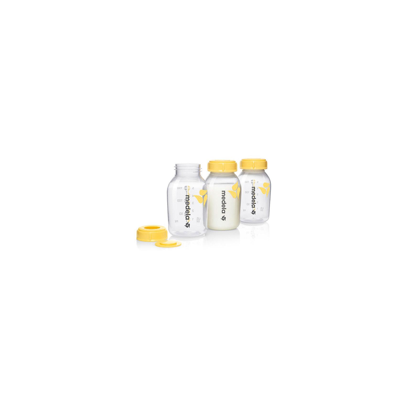 Бутылочки для сбора грудного молока, 150 мл /3 шт, MedelaМолокоотсосы и аксессуары<br>Контейнеры для сбора и хранения грудного молока. Подходят ко всем молокоотсосам со стандартной горловиной. Контейнеры Medela удобны, безопасны, многофункциональны; изготовлены из полипропилена, который не вступает в химическую реакцию с молоком и не выделяет вредных веществ при стерилизации. <br><br>Дополнительная информация:<br><br>- Материал: полипропилен.<br>- Объем: 150 мл.<br>- Комплектация: контейнер (3шт.) с крышками и клапанами.<br>- Не содержит Бисфенол-А <br><br>Контейнеры для сбора грудного молока, 150 мл /3 шт., Medela (Медела) можно купить в нашем магазине.<br><br>Ширина мм: 185<br>Глубина мм: 122<br>Высота мм: 62<br>Вес г: 125<br>Возраст от месяцев: -2147483648<br>Возраст до месяцев: 2147483647<br>Пол: Унисекс<br>Возраст: Детский<br>SKU: 3937721