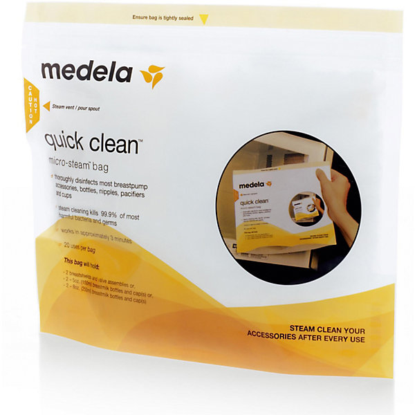 Пакеты  Quick Clean для стерилизации в микроволновой печи. 5 шт/уп, MedelaCтерилизаторы<br>Пакеты для паровой стерилизации в микроволной печи. Идеальны для стерилизации бутылочек, сосок, пустышек, воронок, трубочек и других деталей молокоотсоса, паровая обработка уничтожает 99.9% наиболее распространенных бактерий и микробов; каждый пакет может быть использован до 20 раз. Имеют область для маркировки, на которой можно отмечать количество проведенных стерилизаций.<br><br>Дополнительная информация:<br><br>- Время стерилизации: 3 мин.<br>- Материал: полипропилен.<br>- Размер: 14,5 см х 10,5 см х 5 см.<br>- Пакет может быть использован до 20 раз.<br>- Комплектация: 5 пакетов для стерилизации.<br>- Удобная защелка- молния. <br>- Не содержит Бисфенол-А. <br><br>Пакеты  Quick Clean для стерилизации в микроволновой печи. 5 шт./уп, Medela (Медела) можно купить в нашем магазине.<br><br>Ширина мм: 150<br>Глубина мм: 110<br>Высота мм: 52<br>Вес г: 102<br>Возраст от месяцев: -2147483648<br>Возраст до месяцев: 2147483647<br>Пол: Унисекс<br>Возраст: Детский<br>SKU: 3937727