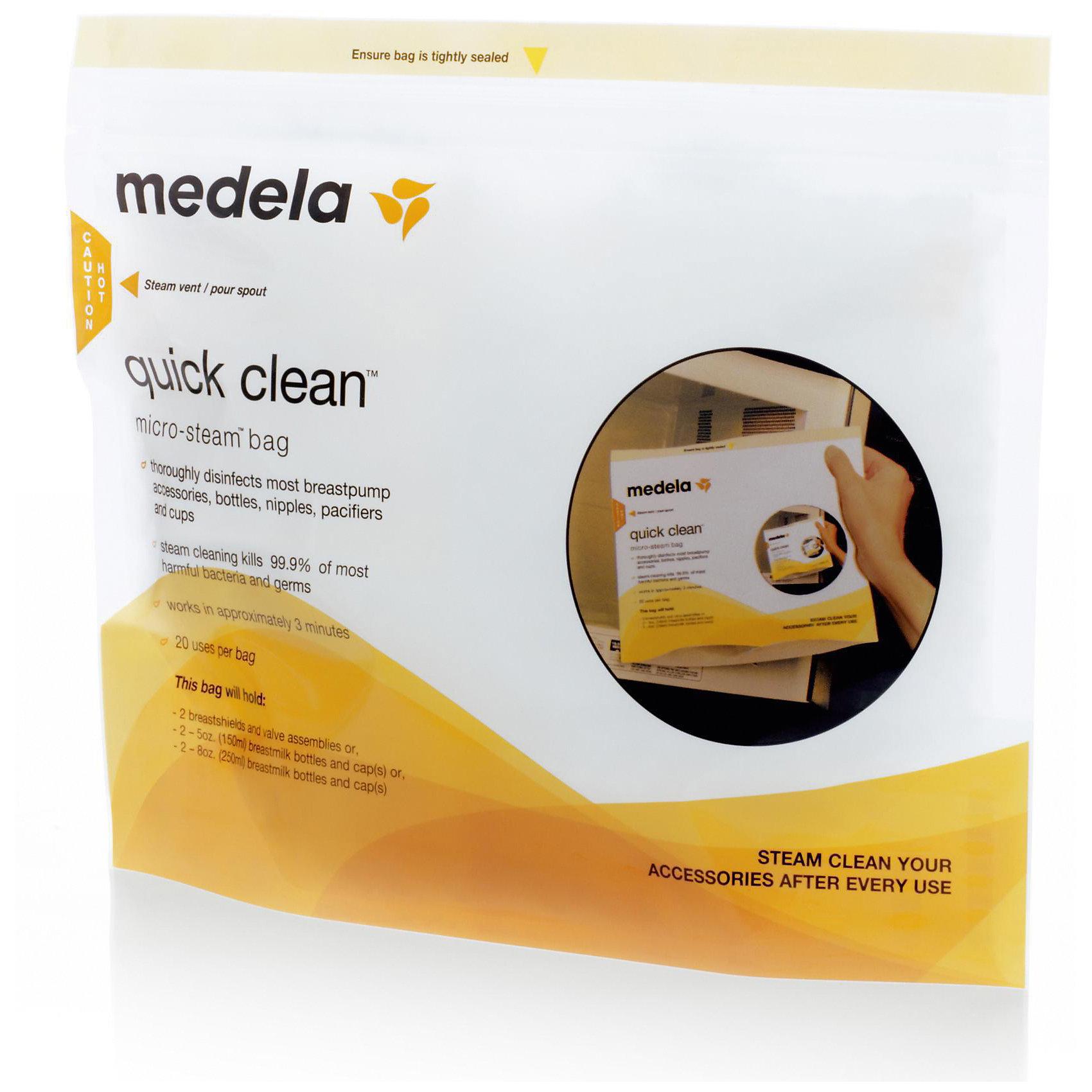 Пакеты  Quick Clean для стерилизации в микроволновой печи. 5 шт/уп, MedelaДетская бытовая техника<br>Пакеты для паровой стерилизации в микроволной печи. Идеальны для стерилизации бутылочек, сосок, пустышек, воронок, трубочек и других деталей молокоотсоса, паровая обработка уничтожает 99.9% наиболее распространенных бактерий и микробов; каждый пакет может быть использован до 20 раз. Имеют область для маркировки, на которой можно отмечать количество проведенных стерилизаций.<br><br>Дополнительная информация:<br><br>- Время стерилизации: 3 мин.<br>- Материал: полипропилен.<br>- Размер: 14,5 см х 10,5 см х 5 см.<br>- Пакет может быть использован до 20 раз.<br>- Комплектация: 5 пакетов для стерилизации.<br>- Удобная защелка- молния. <br>- Не содержит Бисфенол-А. <br><br>Пакеты  Quick Clean для стерилизации в микроволновой печи. 5 шт./уп, Medela (Медела) можно купить в нашем магазине.<br><br>Ширина мм: 150<br>Глубина мм: 110<br>Высота мм: 52<br>Вес г: 102<br>Возраст от месяцев: -2147483648<br>Возраст до месяцев: 2147483647<br>Пол: Унисекс<br>Возраст: Детский<br>SKU: 3937727