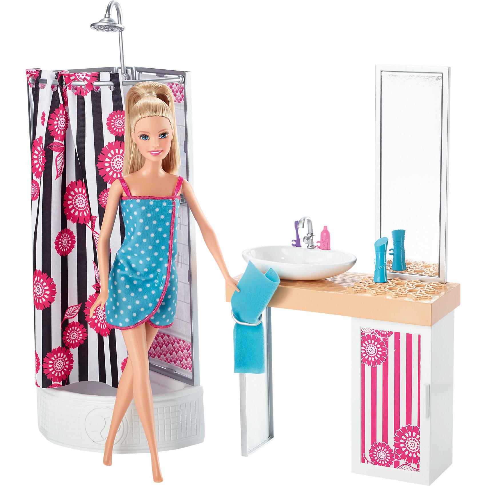 Кукла + Комплект мебели Роскошная ванная, BarbieBarbie Игрушки<br>Характеристики товара:<br><br>• комплектация: кукла, душевая кабина, раковины со шкафчиком и зеркалом<br>• материал: пластик, текстиль<br>• высота куклы: 28 см<br>• размер упаковки: 33х9х33 см<br>• упаковка: блистер<br>• возраст: от трех лет<br>• страна производства: Китай<br>• страна бренда: США<br><br>Эта Барби и симпатичный набор мебели поможет разнообразить игры с любимой куклой! В него входят вещи для организации кукле комфортного жизненного пространства. Этот комплект станет великолепным подарком для девочек!<br><br>Куклы - это не только весело, они помогают девочкам развить вкус и чувство стиля, отработать сценарии поведения в обществе, развить воображение и мелкую моторику. Кукла Barbie от бренда Mattel не перестает быть популярной! <br><br>Куклу + Комплект мебели Роскошная ванная от компании Mattel можно купить в нашем интернет-магазине.<br><br>Ширина мм: 335<br>Глубина мм: 329<br>Высота мм: 119<br>Вес г: 738<br>Возраст от месяцев: 36<br>Возраст до месяцев: 96<br>Пол: Женский<br>Возраст: Детский<br>SKU: 3939440
