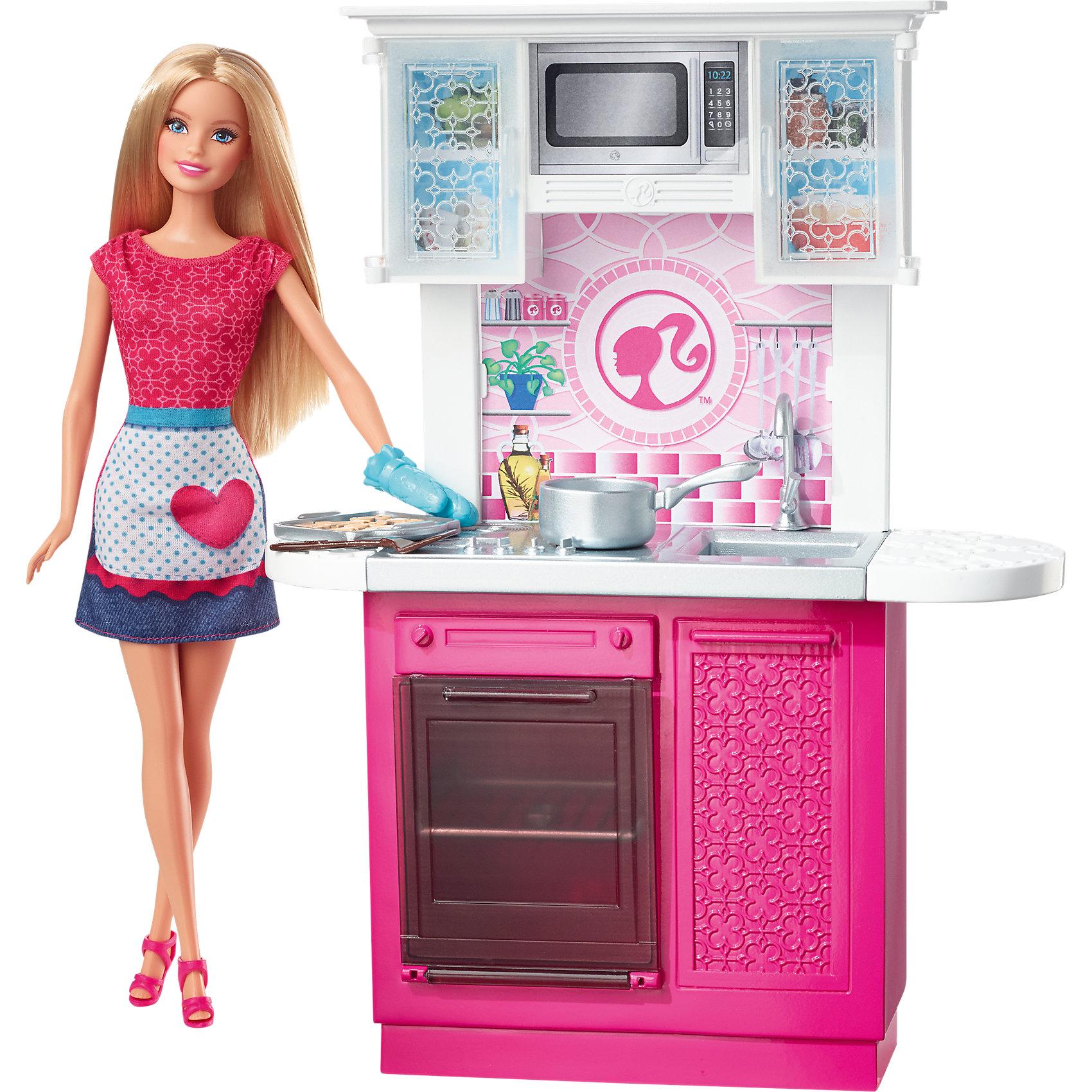 Кукла + Комплект мебели Роскошная кухня, BarbieХарактеристики товара:<br><br>• комплектация: кукла, плита и духовка, раковина, шкафчики<br>• материал: пластик, текстиль<br>• высота куклы: 28 см<br>• размер упаковки: 33х9х33 см<br>• упаковка: блистер<br>• возраст: от трех лет<br>• страна производства: Китай<br>• страна бренда: США<br><br>Эта Барби и симпатичный набор мебели поможет разнообразить игры с любимой куклой! В него входят вещи для организации кукле комфортного жизненного пространства. Этот комплект станет великолепным подарком для девочек!<br><br>Куклы - это не только весело, они помогают девочкам развить вкус и чувство стиля, отработать сценарии поведения в обществе, развить воображение и мелкую моторику. Кукла Barbie от бренда Mattel не перестает быть популярной! <br><br>Куклу + Комплект мебели Роскошная кухня от компании Mattel можно купить в нашем интернет-магазине.<br><br>Ширина мм: 331<br>Глубина мм: 335<br>Высота мм: 96<br>Вес г: 749<br>Возраст от месяцев: 36<br>Возраст до месяцев: 72<br>Пол: Женский<br>Возраст: Детский<br>SKU: 3939441