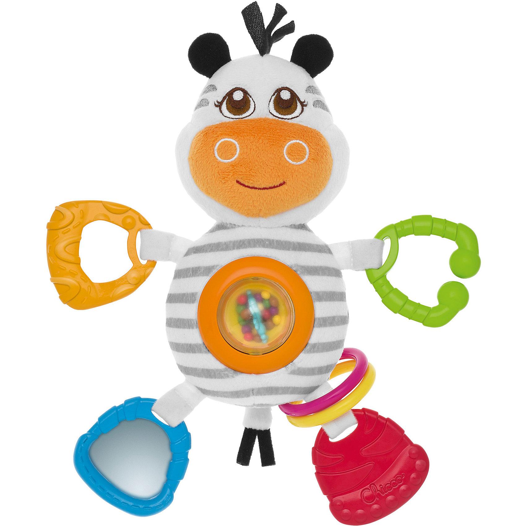 Мягкая игрушка-погремушка Зебра, ChiccoМягкие игрушки<br>Мягкая игрушка-погремушка Зебра, Chicco (Чикко) - это забавная оригинальная игрушка для вашего малыша.<br>Мягкая игрушка-погремушка Зебра от Chicco (Чикко) привлечет внимание вашего малыша и не позволит ему скучать! Игрушка выполнена из мягкого текстильного материала в виде симпатичной полосатой зебры. Ее глазки, носик и щечки вышиты нитками, а если нажать на голову, то послышится звук пищалки. На ее животике расположена вращающаяся прозрачная сфера, внутри которой находятся маленькие разноцветные шарики. Если игрушку потрясти, они будут весело перекатываться и греметь. Ручки и ножки зебры из мягкого пластика с разными рисунками, их можно использовать как прорезыватели для зубов. Вместо одной ножки - безопасное зеркальце. Форма погремушки удобна для маленьких ручек ребенка. Он сможет ее держать, трясти и перекладывать из одной ручки в другую. Яркая игрушка-погремушка поможет малышу в развитии цветового и звукового восприятия, концентрации внимания, мелкой моторики рук, координации движений и тактильных ощущений. Изготовлена из безопасных для здоровья ребенка материалов. При желании поверхность игрушки можно аккуратно вымыть.<br><br>Дополнительная информация:<br><br>- Размер игрушки: 24 х 10 х 6,5 см.<br>- Материал: высококачественный пластик, текстиль, мягкий наполнитель<br>- Размер упаковки: 26 х 20 х 7 см.<br>- Вес: 170 гр.<br><br>Мягкую игрушку-погремушку Зебра, Chicco (Чикко) можно купить в нашем интернет-магазине.<br><br>Ширина мм: 262<br>Глубина мм: 195<br>Высота мм: 73<br>Вес г: 184<br>Возраст от месяцев: 3<br>Возраст до месяцев: 12<br>Пол: Унисекс<br>Возраст: Детский<br>SKU: 3943188