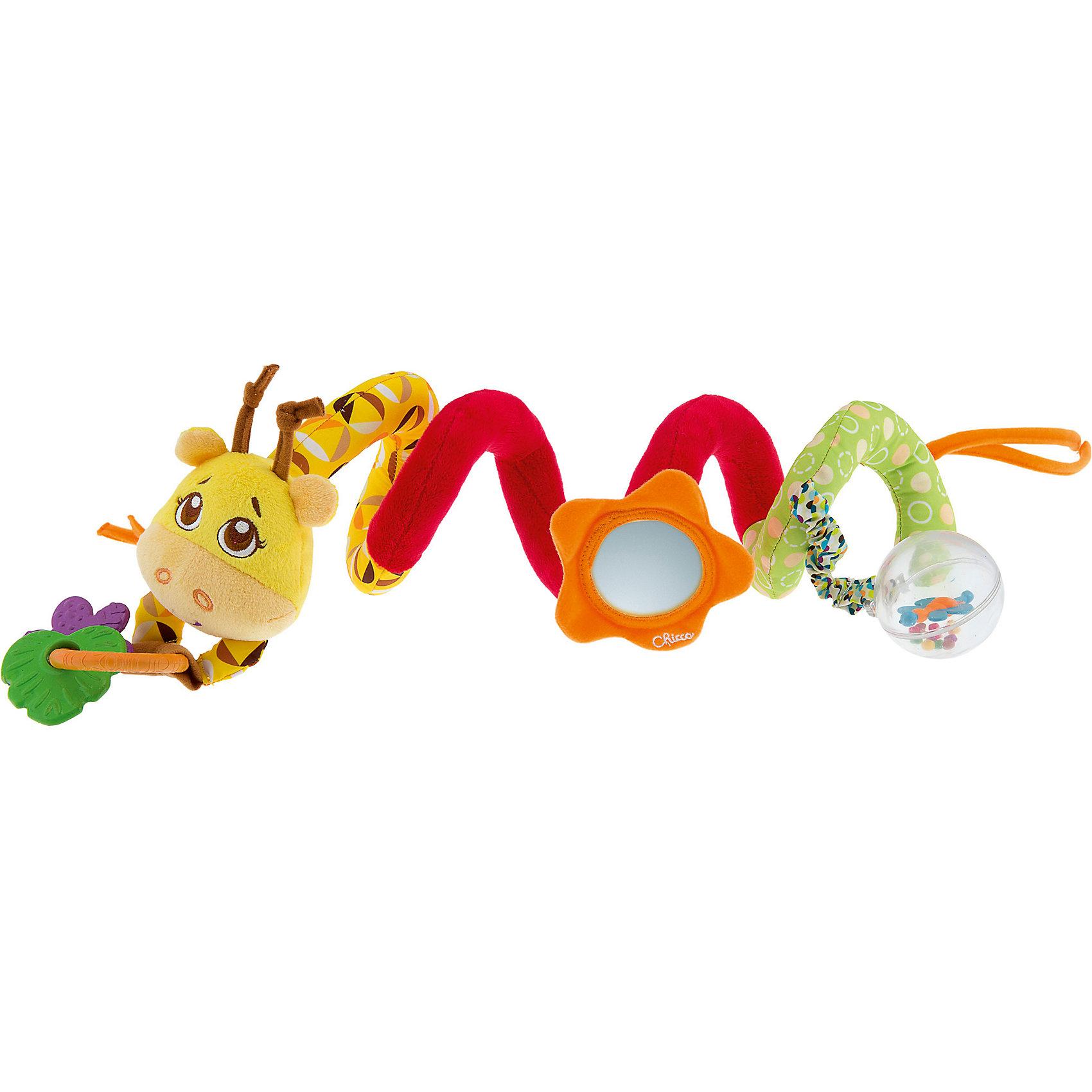 Игрушка для коляски Джунгли на прогулке, ChiccoИгрушки для малышей<br>Игрушка для коляски Джунгли на прогулке, Chicco (Чикко) - это яркая цветная игрушка для коляски с множеством игровых элементов.<br>Игрушка для коляски Джунгли на прогулке от Chicco (Чикко) привлечет внимание вашего малыша и не позволит ему скучать! Игрушка выполнена из и яркого текстильного материала разных фактур. Вытянутая форма изделия украшена симпатичной мордочкой жирафа. По бокам игрушки расположены завязки, для крепления на коляску. К игрушке пришиты разные элементы: безопасное зеркальце, прорезыватели и прозрачная крутящаяся сфера, внутри которой находятся маленькие разноцветные гремящие шарики и бабочка. Игрушку можно повесить на коляску, кроватку, или дать малышу как погремушку. Яркая игрушка поможет малышу в развитии цветового и звукового восприятия, концентрации внимания, мелкой моторики рук, координации движений и тактильных ощущений. Изготовлена из безопасных для здоровья ребенка материалов. При желании поверхность игрушки можно аккуратно вымыть.<br><br>Дополнительная информация:<br><br>- Размер игрушки в скрученном виде: 25 х 11 х 11 см.<br>- Материал: высококачественный пластик, текстиль<br>- Размер упаковки: 25 х 20 х 12 см.<br>- Вес: 190 гр.<br><br>Игрушку для коляски Джунгли на прогулке, Chicco (Чикко) можно купить в нашем интернет-магазине.<br><br>Ширина мм: 259<br>Глубина мм: 208<br>Высота мм: 114<br>Вес г: 211<br>Возраст от месяцев: 6<br>Возраст до месяцев: 24<br>Пол: Унисекс<br>Возраст: Детский<br>SKU: 3943190