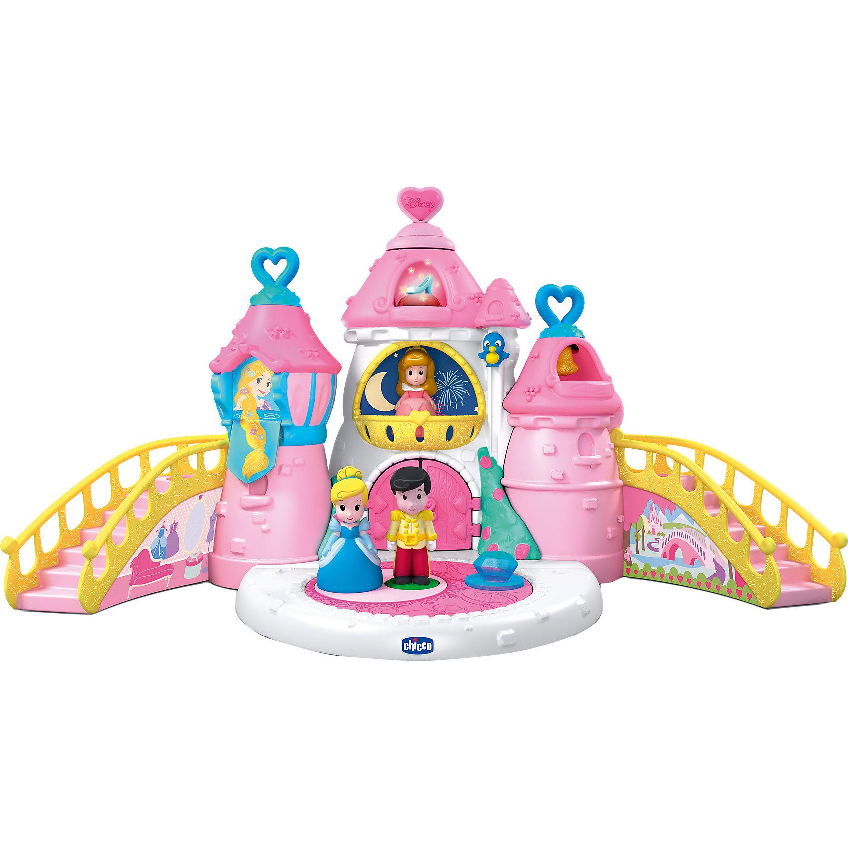 Волшебный замок Принцесс Disney, CHICCOПопулярные игрушки<br>Волшебный замок Принцесс Disney, CHICCO (ЧИКО) – это замечательный игровой набор, который позволяет обыгрывать волшебные истории Disney.<br>Волшебный замок Принцесс Disney от Chicco (Чико) – это мечта любой девочки, красочный, яркий, он обязательно порадует вашего ребёнка. В замке живут три сказочных персонажа - Золушка, Спящая Красавица и Принц. У каждой принцессы есть своя комната в замке, где открываются окошки, а в одном из них появляется изображение еще одной всеми любимой сказочной принцессы Рапунцель! Добраться в свою комнату каждая из принцесс может по боковой лестнице или на специальном волшебном лифте с закрывающимися дверками, который приводится в движение, если ребенок потянет за маленькую птичку сбоку. При этом лифт может ехать как вверх, так и вниз под звуки чудесной мелодии. Во дворе замка есть танцевальная площадка для бала. На платформу ставится принц и принцесса и они начинают кружиться под звуки вальса, если малышка покрутит волшебный кристалл. При нажатии на сердечко на вершине центральной башни раздается волшебная мелодия, и туфелька Золушки загорается сказочными огоньками. Если принца поставить на площадку под окнами Рапунцель, то она спускает в окно свои великолепные волосы. При открывании дверей замка звучит духовой оркестр. Одно из сердечек на правой башне можно вытащить и играть им как колокольчиком-погремушкой. Игрушка развивает мелкую моторику, координацию движений, логическое мышление, причинно-следственные связи, а также воображение и фантазию.<br><br>Дополнительная информация:<br><br>- В наборе: комплектующие замка; 3 игровые фигурки; аксессуары; инструкция<br>- 18 мелодий и звуков<br>- Материал: пластик<br>- Батарейки: 3 типа ААА (не входят в комплект)<br>- Размер: 58х28,5х34 см.<br>- Размер упаковки: 38х28х34 см.<br>- Вес с упаковкой: 5 кг.<br><br>Игровой набор Волшебный замок Принцесс Disney, CHICCO (ЧИКО) можно купить в нашем интернет-магазине.<br><br>Ширина мм: 458<br>Гл