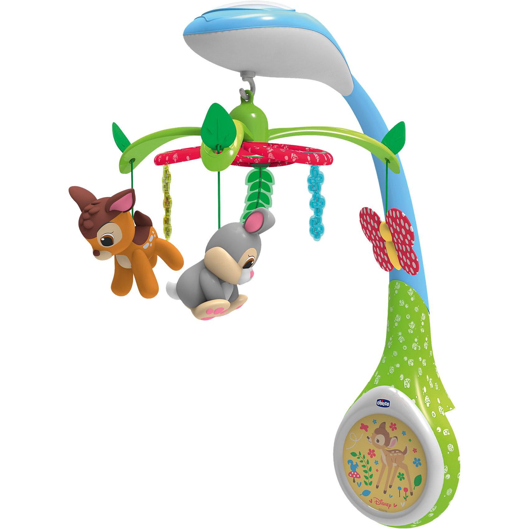 Игрушка-проектор для кроватки Бэмби, Disney, CHICCOМобили<br>Игрушка-проектор для кроватки Бэмби, Disney, CHICCO (ЧИКО) – порадует вашего малыша и создаст волшебную атмосферу во время сна.<br>Игрушка-проектор «Бэмби» от Chicco (Чико) имеет три волшебных функции, которые вы можете включать как по отдельности, так и выбрать нужную вам комбинацию в зависимости от того, что больше понравится вашему малышу. Функция проекция: на потолок проецируются фигурки персонажей из Бэмби - олененок, бабочки, птички и цветы. Проекция может быть в трех различных цветах - нежно-зеленый, мягкий желтый и светло-голубой. Цвет меняется автоматически, но вы также и сами можете выбрать понравившийся режим. Функция музыка: 7 видов нежных и красивейших мелодий, мягких и расслабляющих звуков, которые длятся до 15 минут. Музыка нежно окутает вашего малыша и создает в комнате атмосферу волшебства, спокойствия и уюта. Функция вращение: 3 подвески-игрушки из ткани, изображающие милых персонажей сказки про Бэмби, вращаются над кроваткой малыша. Игрушка-проектор «Бэмби» от Chicco (Чико) легко крепится на кроватке.<br><br>Дополнительная информация:<br><br>- Мелодии: 2 стиля музыки и звуки природы<br>- Материал: пластик, текстиль<br>- Батарейки: 3 типа АА (не входят в комплект)<br>- Размер упаковки: 20,9 х 27,7 х 18,8 см.<br>- Вес: 1,4 кг.<br><br>Игрушку-проектор для кроватки Бэмби, Disney, CHICCO (ЧИКО) можно купить в нашем интернет-магазине.<br><br>Ширина мм: 404<br>Глубина мм: 309<br>Высота мм: 129<br>Вес г: 1301<br>Возраст от месяцев: 0<br>Возраст до месяцев: 24<br>Пол: Унисекс<br>Возраст: Детский<br>SKU: 3943215
