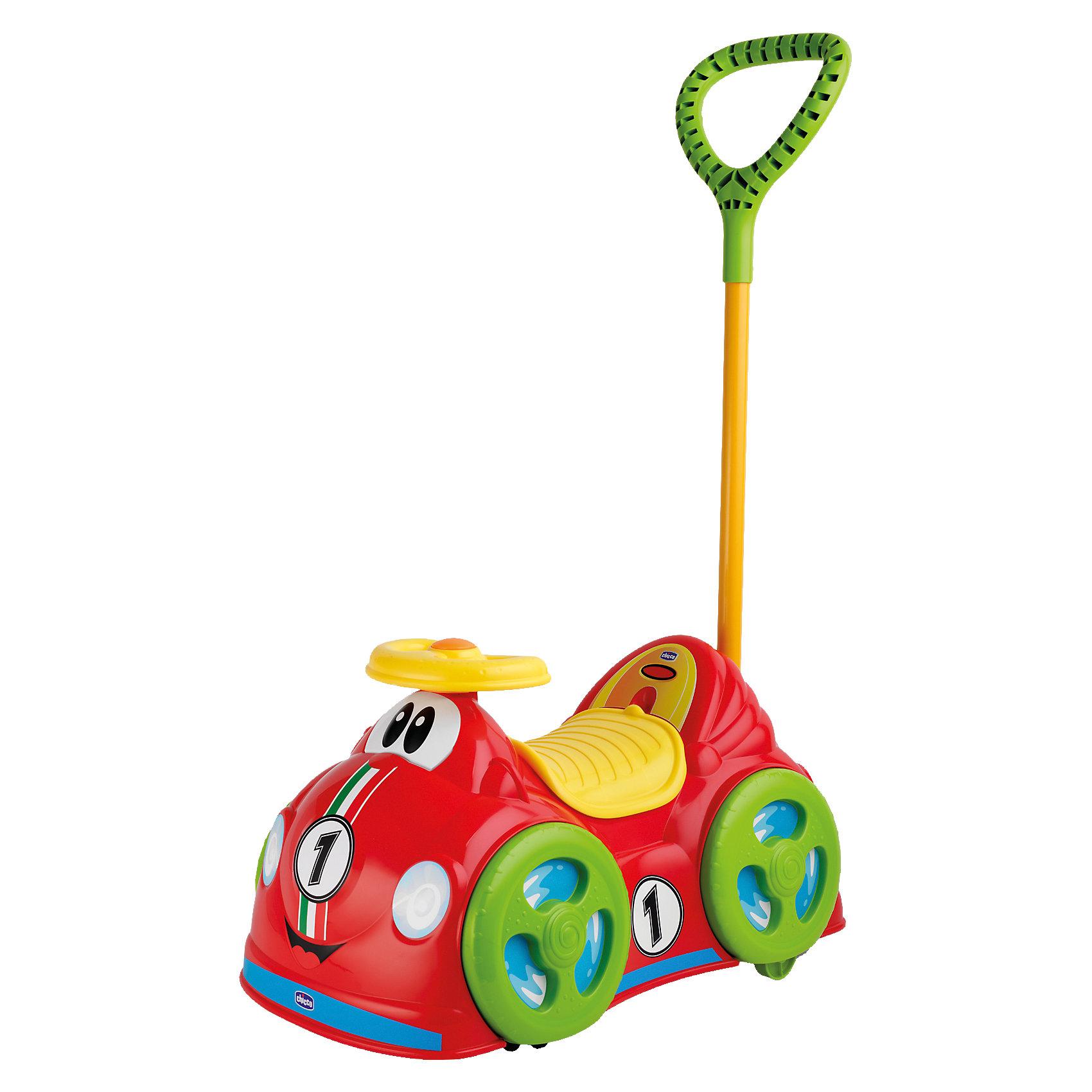 Каталка RIDE ON 360, CHICCOМашинки-каталки<br>Каталка RIDE ON 360, CHICCO (ЧИКО) – эта удобная яркая каталка вызовет восторг у вашего малыша.<br>Красочную каталку Ride On 360 от Chicco (Чико) можно использовать как дома, так и на улице. Игрушка имеет два способа применения: ее могут толкать взрослые, используя специальную ручку сзади, и малыш может самостоятельно ездить, отталкиваясь ножками. Ручка для родителей отсоединяется. Четыре поворотных колеса, способных вращаться на 360 градусов, обеспечат ребенку максимальную свободу движений, легкость в управлении и абсолютную безопасность. У каталки имеется вращающийся удобный руль, с большой кнопкой, издающей забавный и звонкий звук клаксона. Под сиденьем находится багажник для игрушек. Каталка выполнена в ярком и веселом стиле, а специальные стикеры, идущие в комплекте, делают ее еще более оригинальной. Каталка Ride On 360 отлично развивает координацию движения малыша и помогает ему познавать окружающий мир.<br><br>Дополнительная информация:<br><br>- Максимально допустимый вес: до 20 кг.<br>- Размер каталки: 51х31х27 см.<br>- Материал: пластик<br>- Батарейки: 3 типа АА (не входят в комплект)<br>- Размер упаковки: 52,3х30,3х28,3 см.<br>- Вес: 2,5 кг.<br><br>Каталку RIDE ON 360, CHICCO (ЧИКО) можно купить в нашем интернет-магазине.<br><br>Ширина мм: 523<br>Глубина мм: 289<br>Высота мм: 292<br>Вес г: 2423<br>Возраст от месяцев: 12<br>Возраст до месяцев: 36<br>Пол: Унисекс<br>Возраст: Детский<br>SKU: 3943216