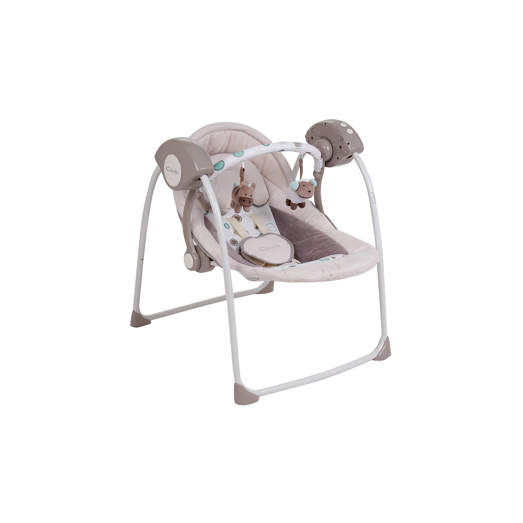 Качели TY-002B, Capella, серыйЗамечательные переносные электрокачели от известного бренда Capella для Вашего малыша. Станут незаменимым помощником в первые месяцы: они укачают, успокоят или отвлекут ребенка, оставив родителям время для отдыха или домашних дел. Обладают следующими особенностями:<br>- приятный светло-серый цвет;<br>- съемная дуга с игрушками;<br>- мягкое комфортное сиденье с подголовником;;<br>- 2 положения наклона спинки;<br>- качественные пятиточечные ремни безопасности с удобной застежкой;<br>- съемный матрас и чехол, допускается машинная стирка;<br>- музыкальный блок с 12 убаюкивающими мелодиями;<br>- регулируемая громкость;<br>- 5 скоростей качания;<br>- тихий двигатель;<br>- прочный металлический каркас с резиновыми накладками, предотвращающими скольжение;<br>- качели легко и компактно складываются для хранения или транспортировки;<br>- таймер на 8/15/30 минут.<br>Отличная вещь для ребенка и молодых родителей!<br><br>Дополнительная информация:<br>- вес: 5000 гр.;<br>- габариты: 700х600х720 мм;<br>- цвет: серый;<br>- работают от батареек;<br>- для детей весом от 3 до 9 кг.<br><br>Качели Capella (Капелла) можно купить в нашем магазине<br><br>Ширина мм: 600<br>Глубина мм: 440<br>Высота мм: 150<br>Вес г: 5000<br>Возраст от месяцев: 0<br>Возраст до месяцев: 6<br>Пол: Унисекс<br>Возраст: Детский<br>SKU: 3946083