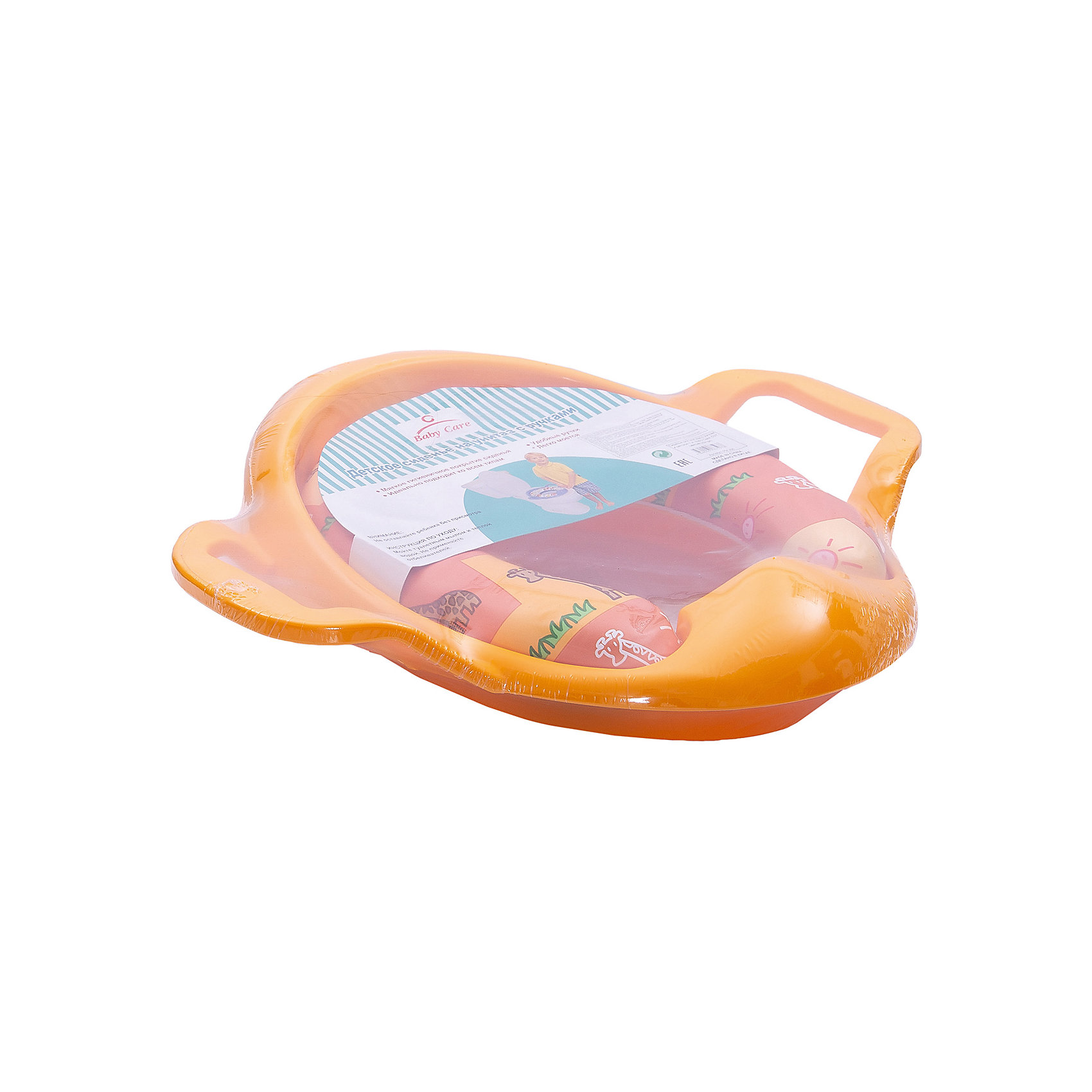 Сиденье для унитаза c ручками, Baby Care, жёлтыйГоршки, сиденья для унитаза, стульчики-подставки<br>Сидение Baby Care - очень удобная накладка на унитаз, которая поможет ребенку привыкнуть ко взрослому унитазу. Оно разработано, учитывая потребности малыша. Для дополнительного удобства оно оснащена двумя большими пластиковыми ручками, чтобы малыш чувствовал себя уверенно. Оригинальный дизайн с забавными рисунками точно понравится малышу. Мягкая обивка приятна на ощупь и обеспечивает дополнительный комфорт. Сидение можно устанавливать на любой взрослый унитаз. Оно легко моется, а брызговик защитит его от лишних загрязнений. После использования сидение можно легко повесить рядом с унитазом, чтобы оно было легко доступно в следующий раз.<br><br>Дополнительная информация:<br><br>- Удобные ручки;<br>- Защита от брызг;<br>- Уникально мягкое покрытие, которое легко мыть;<br>- Обеспечивает комфортное и удобное положение ребёнка;<br>- Забавные рисунки;<br>- Материал не вызывает аллергии; <br>- Может использоваться для детей любого пола;<br>- Подходит для любых унитазов;<br>- Можно подвесить до следующего использования;<br>- Материал: нетоксичный пластик, резина;<br>- Цвет: желтый;<br>- Размер отверстия: 11 х 13 см;<br>- Размеры (нижней части, которая вставляется во взрослый стульчак): длина - 24,5 см, ширина - 20,5 см;<br>- Размеры внешние: 38,5, х 29,5 см;<br>- Вес: 600 г.<br><br>Сиденье для унитаза c ручками, Baby Care, желтое можно купить в нашем интернет-магазине.<br><br>Ширина мм: 380<br>Глубина мм: 290<br>Высота мм: 80<br>Вес г: 600<br>Возраст от месяцев: 12<br>Возраст до месяцев: 36<br>Пол: Унисекс<br>Возраст: Детский<br>SKU: 3949962