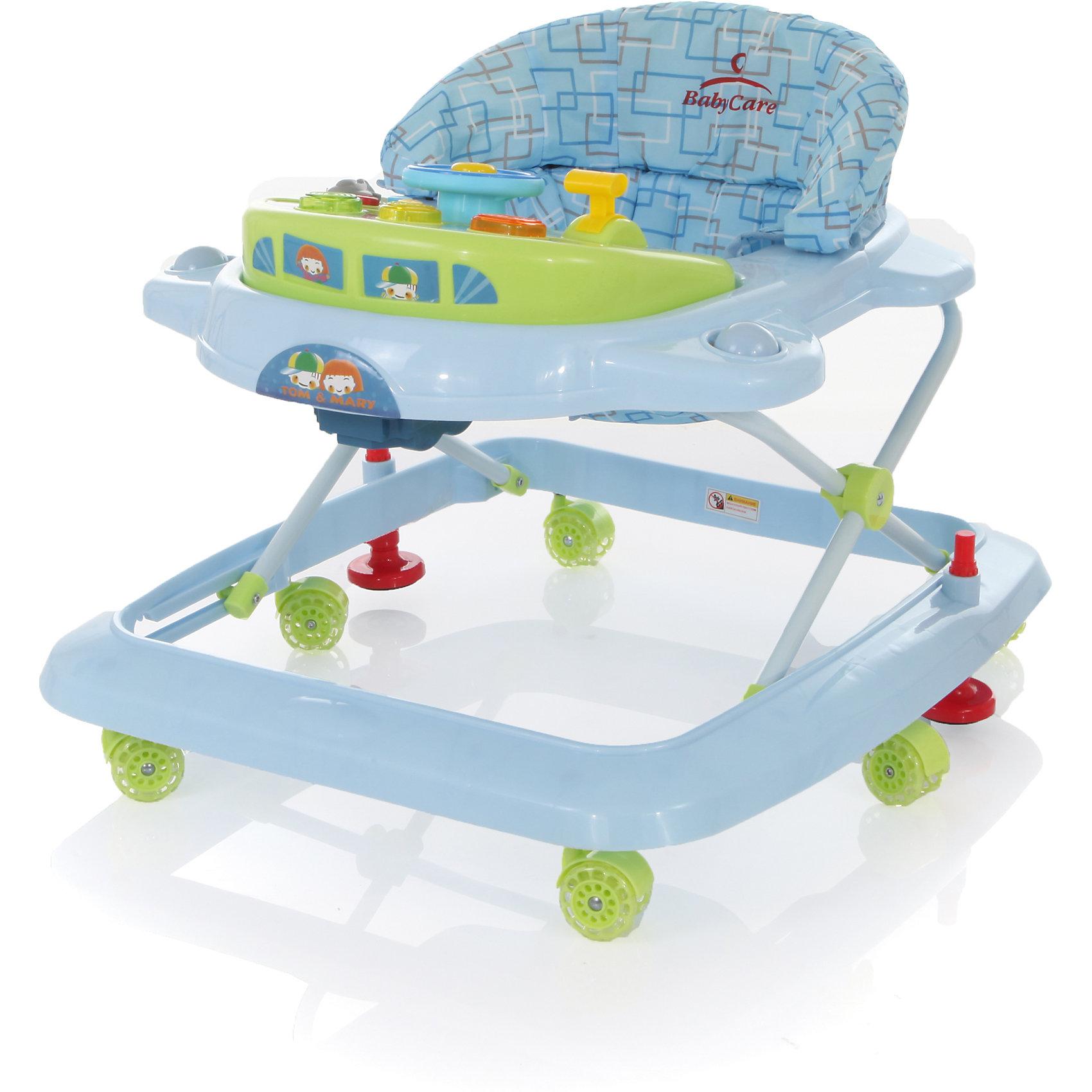 Ходунки Tom&amp;Mary, Baby Care, голубой/зелёныйХарактеристики ходунков Baby Care Tom&amp;Mary:<br><br>• свето-музыкальная игровая панель;<br>• сиденье мягкое, с жесткой спинкой и паховым ограничителем;<br>• чехлы съемные, стирка при температуре 30 градусов;<br>• высота сиденья регулируется в 3-х положениях;<br>• защита от произвольного складывания;<br>• сдвоенные поворотные колеса, 6 пар, стопоры, материал – силикон;<br>• тип складывания ходунков: гармошка;<br>• материал каркаса: пластик, материал сиденья: 65% полиэстер и 35% хлопок, сиденье моющееся;<br>• размер ходунков в разложенном виде: 64х59х52 см;<br>• размер ходунков в сложенном виде: 64х59х25 см;<br>• вес ходунков: 2,8 кг;<br>• допустимый вес ребенка: до 12 кг;<br>• возраст ребенка: от 6 до 18 месяцев;<br>• размер упаковки: 59,5x65,5x13 см;<br>• вес упаковки: 3,8 кг.<br><br>Устойчивая конструкция ходунков Baby Care Tom&amp;Mary позволяет полностью обезопасить кроху от опрокидывания, когда малыш находится в креслице ходунков. Съемная музыкальная панель развивает логическое мышление, слуховое восприятие. Складная и компактная модель – ходунки удобно хранить в сложенном виде, не занимают много места. <br><br>Ходунки Tom&amp;Mary, Baby Care, голубой/зелёный можно купить в нашем интернет-магазине.<br><br>Ширина мм: 600<br>Глубина мм: 600<br>Высота мм: 130<br>Вес г: 4000<br>Возраст от месяцев: 6<br>Возраст до месяцев: 18<br>Пол: Унисекс<br>Возраст: Детский<br>SKU: 3950026