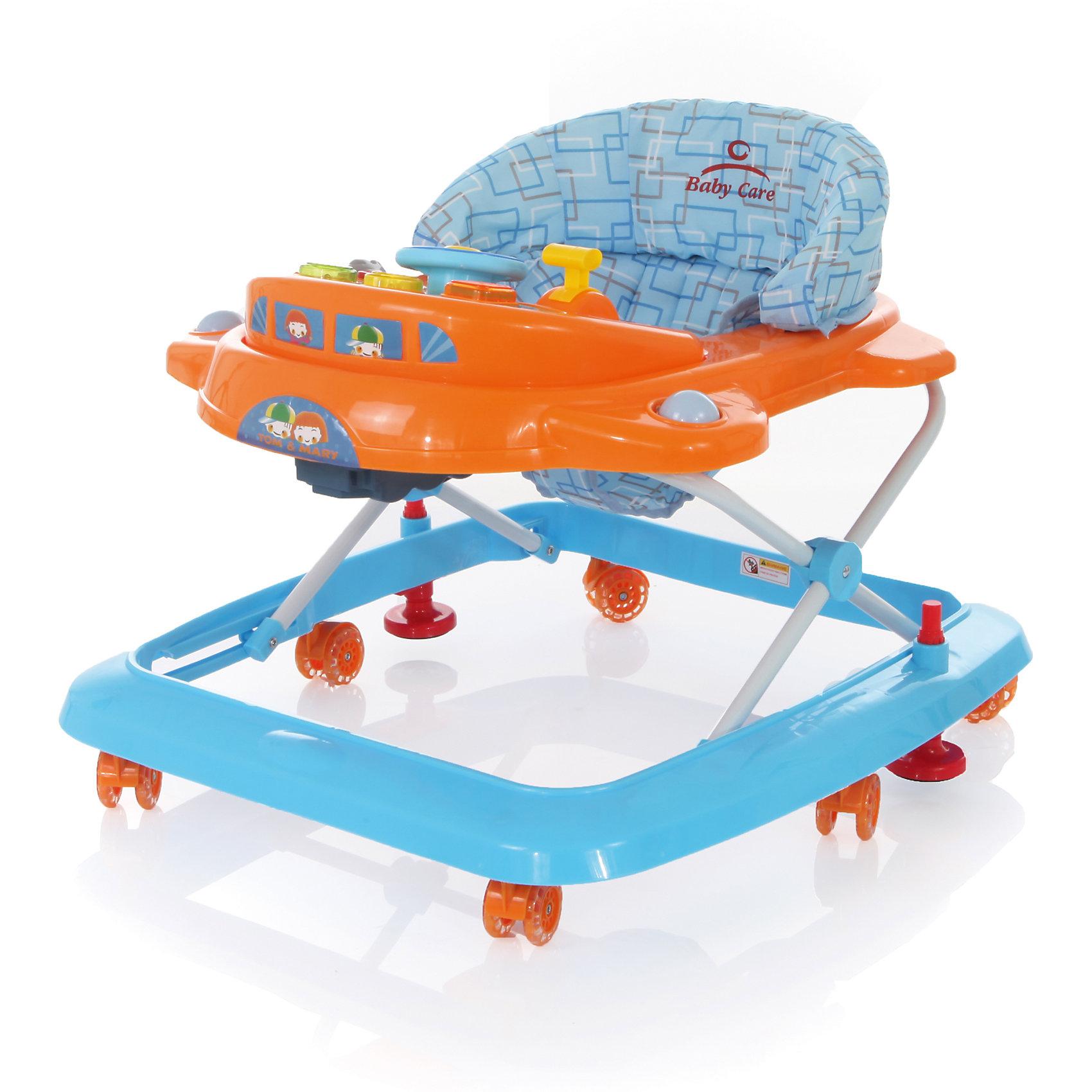 Baby Care Ходунки Tom&Mary, Baby Care, голубой/оранжевый happy baby ходунки smiley v2 цвет голубой