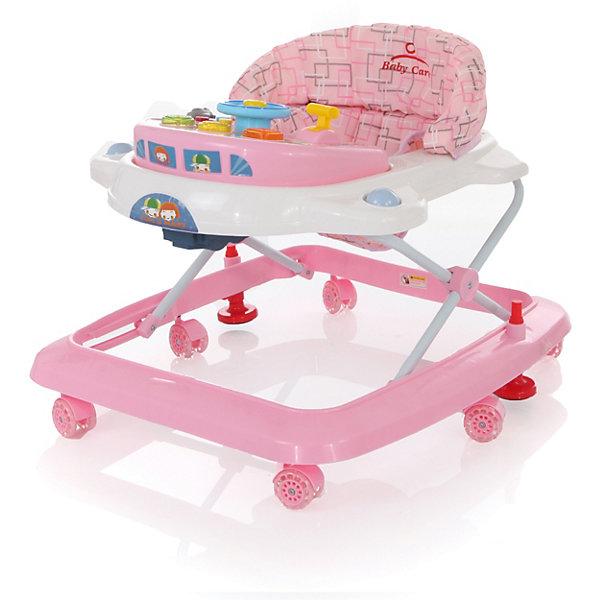 Ходунки Tom&amp;Mary, Baby Care, розовыйХодунки<br>Характеристики ходунков Baby Care Tom&amp;Mary:<br><br>• свето-музыкальная игровая панель;<br>• сиденье мягкое, с жесткой спинкой и паховым ограничителем;<br>• чехлы съемные, стирка при температуре 30 градусов;<br>• высота сиденья регулируется в 3-х положениях;<br>• защита от произвольного складывания;<br>• сдвоенные поворотные колеса, 6 пар, стопоры, материал – силикон;<br>• тип складывания ходунков: гармошка;<br>• материал каркаса: пластик, материал сиденья: 65% полиэстер и 35% хлопок, сиденье моющееся;<br>• размер ходунков в разложенном виде: 64х59х52 см;<br>• размер ходунков в сложенном виде: 64х59х25 см;<br>• вес ходунков: 2,8 кг;<br>• допустимый вес ребенка: до 12 кг;<br>• возраст ребенка: от 6 до 18 месяцев;<br>• размер упаковки: 59,5x65,5x13 см;<br>• вес упаковки: 3,8 кг.<br><br>Устойчивая конструкция ходунков Baby Care Tom&amp;Mary позволяет полностью обезопасить кроху от опрокидывания, когда малыш находится в креслице ходунков. Съемная музыкальная панель развивает логическое мышление, слуховое восприятие. Складная и компактная модель – ходунки удобно хранить в сложенном виде, не занимают много места. <br><br>Ходунки Tom&amp;Mary, Baby Care, розовые можно купить в нашем интернет-магазине.<br><br>Ширина мм: 600<br>Глубина мм: 600<br>Высота мм: 130<br>Вес г: 4000<br>Возраст от месяцев: 6<br>Возраст до месяцев: 18<br>Пол: Женский<br>Возраст: Детский<br>SKU: 3950028