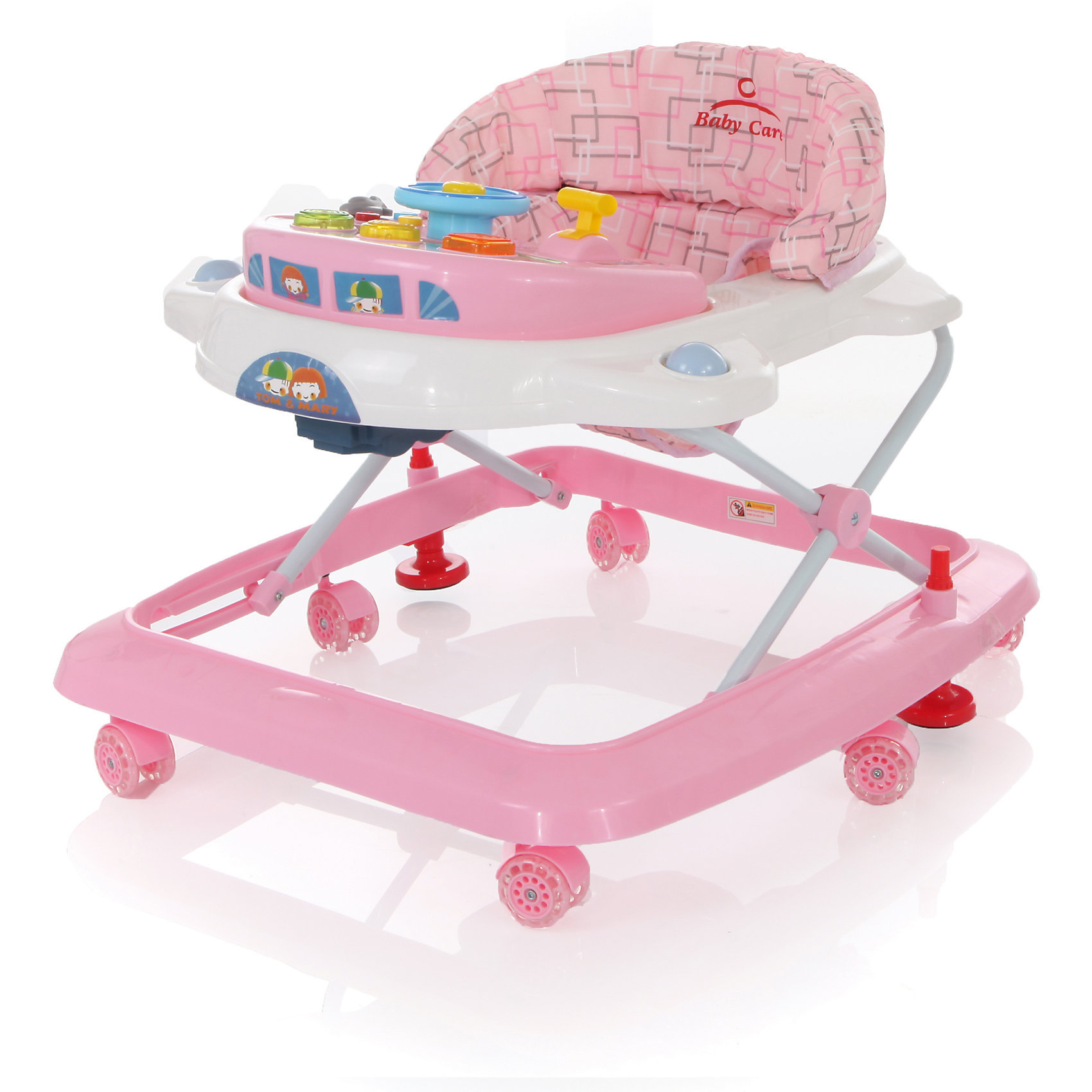 Ходунки Tom&amp;Mary, Baby Care, розовыйЯркие и удобные ходунки Tom&amp;Mary от бренда Baby Care помогут малышу развить навык хождения. Симпатичные ходунки имеют шесть силиконовых колес, которые не скользят и равномерно тормозят на любом покрытии. Мягкое сиденье, съемная музыкально-игровая панель и регулируемая высота от пола – вот несколько основных преимуществ ходунков. Кроха придет в восторг от удобства, родителям же понравится качество материалов и функциональность изделия, съемная обивка легко стирается и сушится. Шесть крепких устойчивых силиконовых колес облегчают перемещение и не повреждают напольные покрытия. Удобные, легкие ходунки обеспечивают максимальную безопасность первых самостоятельных шагов малыша. Ходунки легко складываются гармошкой и не займут в сложенном виде много места.<br><br>Дополнительная информация:<br><br>- Устойчивая конструкция;<br>- Два стопора, позволяют контролировать передвижения ребенка;<br>- Сиденье регулируется по высоте в 3-х положениях;<br>- Небольшой вес;<br>- Сиденье комфортное со съемной обивкой;<br>- Замок-фиксатор защищает от произвольного складывания;<br>- 6 двойных силиконовых поворотных колес;<br>- Съемная игровая панель;<br>- Цвет: розовый;<br>- Вес: 3,8 кг<br><br>Ходунки Tom&amp;Mary, Baby Care, розовые можно купить в нашем интернет-магазине.<br><br>Ширина мм: 600<br>Глубина мм: 600<br>Высота мм: 130<br>Вес г: 4000<br>Возраст от месяцев: 6<br>Возраст до месяцев: 18<br>Пол: Женский<br>Возраст: Детский<br>SKU: 3950028