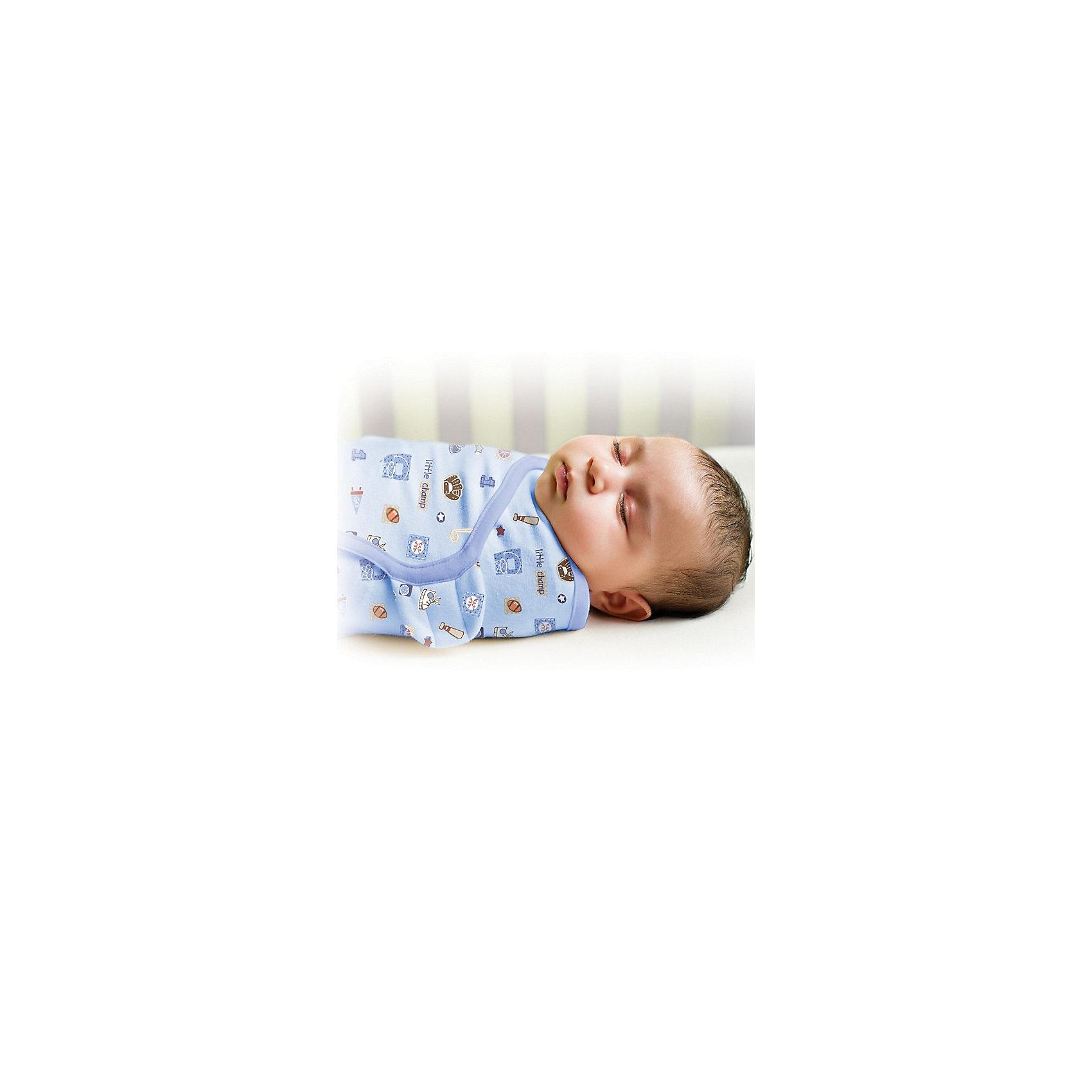 Конверт для пеленания на липучке SWADDLEME® S/M, Summer Infant, маленький чемпионПеленание<br>Окутайте малыша нежностью, которую дает конверт SwaddleMe. Он сделан из хлопка с оригинальной регулируемой системой крепления на липучке. Пеленание успокаивает новорожденных, путем воссоздания знакомых ему чувств, как в утробе мамы.<br>Мягко облегая, конверт не ограничивает движение ребенка, и в тоже время помогает снизить рефлекс внезапного вздрагивания, благодаря этому сон малыша и родителей будет более крепким.<br>Регулируемые крылья для закрытия конверта сделаны таким образом, что даже самый активный ребенок не сможет распеленаться во время сна. Конверт можно открыть в области ног малыша для легкой смены подгузников - нет необходимости разворачивать детские ручки.<br><br><br>Дополнительная информация:<br><br>- Размер: 50 см (размер S/M).<br>- Материал: хлопок и нити эластана.<br>- Подходит для малышей среднего размера от 3 до 6 кг.<br>- Цвет: голубой.<br><br>Конверт для пеленания на липучке SWADDLEME, Little Champs, размер S/M, 3-6 кг. можно купить в нашем магазине.<br><br>Ширина мм: 30<br>Глубина мм: 150<br>Высота мм: 235<br>Вес г: 160<br>Возраст от месяцев: 0<br>Возраст до месяцев: 3<br>Пол: Мужской<br>Возраст: Детский<br>SKU: 3950364