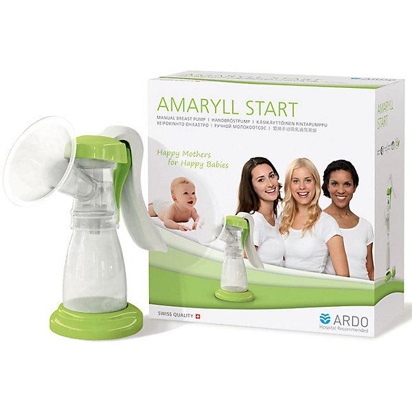 Ручной молокоотсос AMARYLL START, ARDOМолокоотсосы и аксессуары<br>Ручной молокоотсос AMARYLL START от ARDO сводит до минимума болевые ощущения за счет мягкой массажной насадки. Эргономичный дизайн ручки обеспечивает легкость в использовании как для «правшей», так и для «левшей». Обладает антибактериальным барьером VacuuSeal и на 100% защищает грудное молоко от соприкосновения с внешней средой и размножения болезнетворных бактерий, предотвращая загрязнение молокоотсоса и молока. Отличается простотой сборки и использования. Сделан из материалов наивысшего качества, не содержащих Бисфенол–А, имеет стильный и лаконичный ECO дизайн. Подходит для нечастого сцеживания, мамам, которые хотят продолжать грудное вскармливание. <br><br>Дополнительная информация:<br><br>- Комплектация: молокоотсос с воронкой для сцеживания 26 мм, подставка. <br>- Материал: силикон, полипропилен.<br>- Не содержит Бисфенол–А,<br><br>Ручной молокоотсос AMARYLL START, ARDO (Ардо) можно купить в нашем магазине.<br><br>Ширина мм: 190<br>Глубина мм: 100<br>Высота мм: 190<br>Вес г: 375<br>Возраст от месяцев: -2147483648<br>Возраст до месяцев: 2147483647<br>Пол: Унисекс<br>Возраст: Детский<br>SKU: 3952268