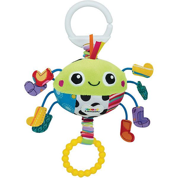 Подвеска Весёлый паучок, LamazeИгрушки для новорожденных<br>Подвеска Весёлый паучок, Lamaze - забавная развивающая игрушка, которая обязательно привлечет внимание Вашего малыша. Милый веселый паучок выполнен в ярких разноцветных тонах, очень мягкий и приятный на ощупь. Материалы разной фактуры, контрастные цвета и лапки с шуршащими ботиночками стимулируют развитие тактильных и сенсорных навыков ребенка. Легкая конструкция и форма очень удобна для маленьких ручек малыша. Потяните паучка за желтое кольцо с радужной паутинкой и он будет вибрировать, слегка покачивая ножками.<br>Имеется кольцо для крепления к кроватке или коляске. Игрушка способствует развитию воображения и познавательной активности, учит причинно-следственным связям, тренирует мелкую моторику.<br><br>Дополнительная информация:<br><br>- Материал: текстиль, пластик.<br>- Размер игрушки: 3 x 15,2 x 12,7 см.<br>- Вес: 0,454 кг.<br><br>Подвеску Весёлый паучок, Lamaze, можно купить в нашем интернет-магазине.<br><br>Ширина мм: 235<br>Глубина мм: 139<br>Высота мм: 71<br>Вес г: 87<br>Возраст от месяцев: 0<br>Возраст до месяцев: 18<br>Пол: Унисекс<br>Возраст: Детский<br>SKU: 3965939