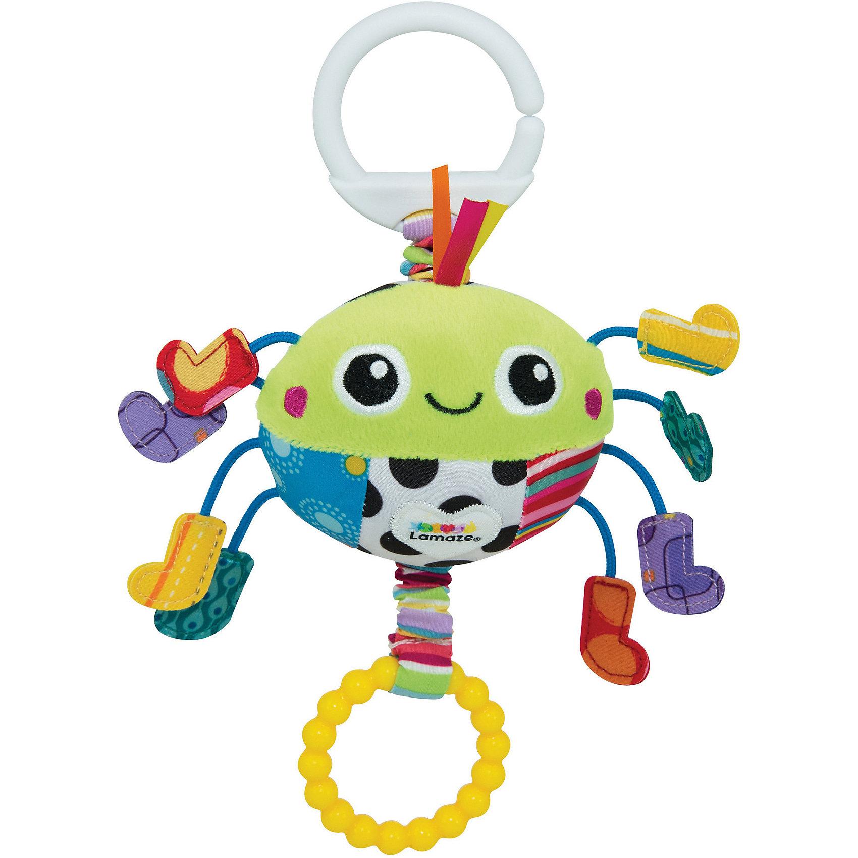 Подвеска Весёлый паучок, LamazeМягкие игрушки<br>Подвеска Весёлый паучок, Lamaze - забавная развивающая игрушка, которая обязательно привлечет внимание Вашего малыша. Милый веселый паучок выполнен в ярких разноцветных тонах, очень мягкий и приятный на ощупь. Материалы разной фактуры, контрастные цвета и лапки с шуршащими ботиночками стимулируют развитие тактильных и сенсорных навыков ребенка. Легкая конструкция и форма очень удобна для маленьких ручек малыша. Потяните паучка за желтое кольцо с радужной паутинкой и он будет вибрировать, слегка покачивая ножками.<br>Имеется кольцо для крепления к кроватке или коляске. Игрушка способствует развитию воображения и познавательной активности, учит причинно-следственным связям, тренирует мелкую моторику.<br><br>Дополнительная информация:<br><br>- Материал: текстиль, пластик.<br>- Размер игрушки: 3 x 15,2 x 12,7 см.<br>- Вес: 0,454 кг.<br><br>Подвеску Весёлый паучок, Lamaze, можно купить в нашем интернет-магазине.<br><br>Ширина мм: 275<br>Глубина мм: 156<br>Высота мм: 71<br>Вес г: 90<br>Возраст от месяцев: 0<br>Возраст до месяцев: 18<br>Пол: Унисекс<br>Возраст: Детский<br>SKU: 3965939