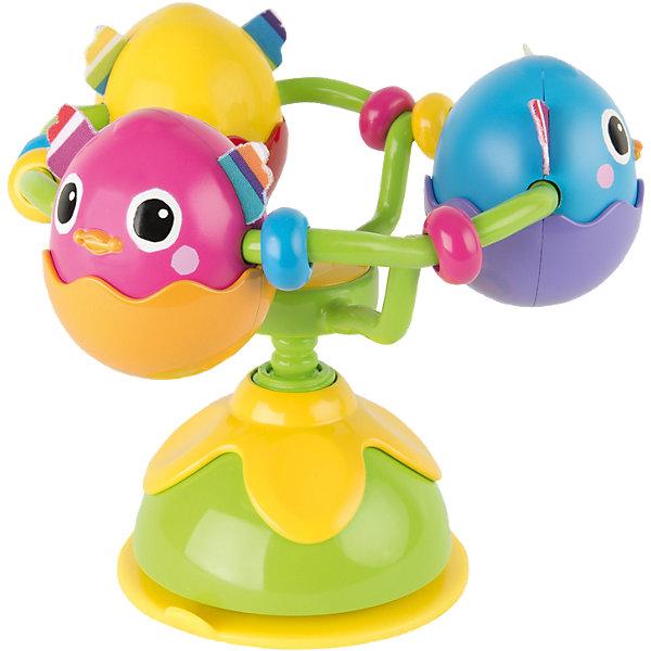 Игрушка с присоской Веселые яички, LamazeРазвивающие игрушки<br>Игрушка с присоской Веселые яички, Lamaze - забавная развивающая игрушка, которая обязательно понравится Вашему малышу. Игрушка выполнена в виде гнезда с тремя яичками, в которых сидят симпатичные разноцветные птенчики. В основании гнезда имеется мощная присоска, благодаря чему игрушку можно надежно прикрепить к любой поверхности - кроватке ребенка, стульчику для кормления, коляске или к стенке в ванной. Каждый птенчик оформлен в ярких цветах, с шуршащими текстильными  крылышки, что стимулирует развитие тактильных и сенсорных навыков ребенка. Яички с птенцами вращаются на 360° градусов и при повороте издают забавные звуки птичьего щебетанья. Игрушка способствует развитию воображения и познавательной активности, учит причинно-следственным связям, тренирует мелкую моторику.<br><br>Дополнительная информация:<br><br>- Материал: пластик, текстиль.<br>- Размер игрушки: 8,9 x 24,1 x 9,5 см.<br>- Вес: 191 гр.<br><br>Игрушку с присоской Веселые яички, Lamaze, можно купить в нашем интернет-магазине.<br>Ширина мм: 240; Глубина мм: 187; Высота мм: 187; Вес г: 326; Возраст от месяцев: 6; Возраст до месяцев: 24; Пол: Унисекс; Возраст: Детский; SKU: 3965942;