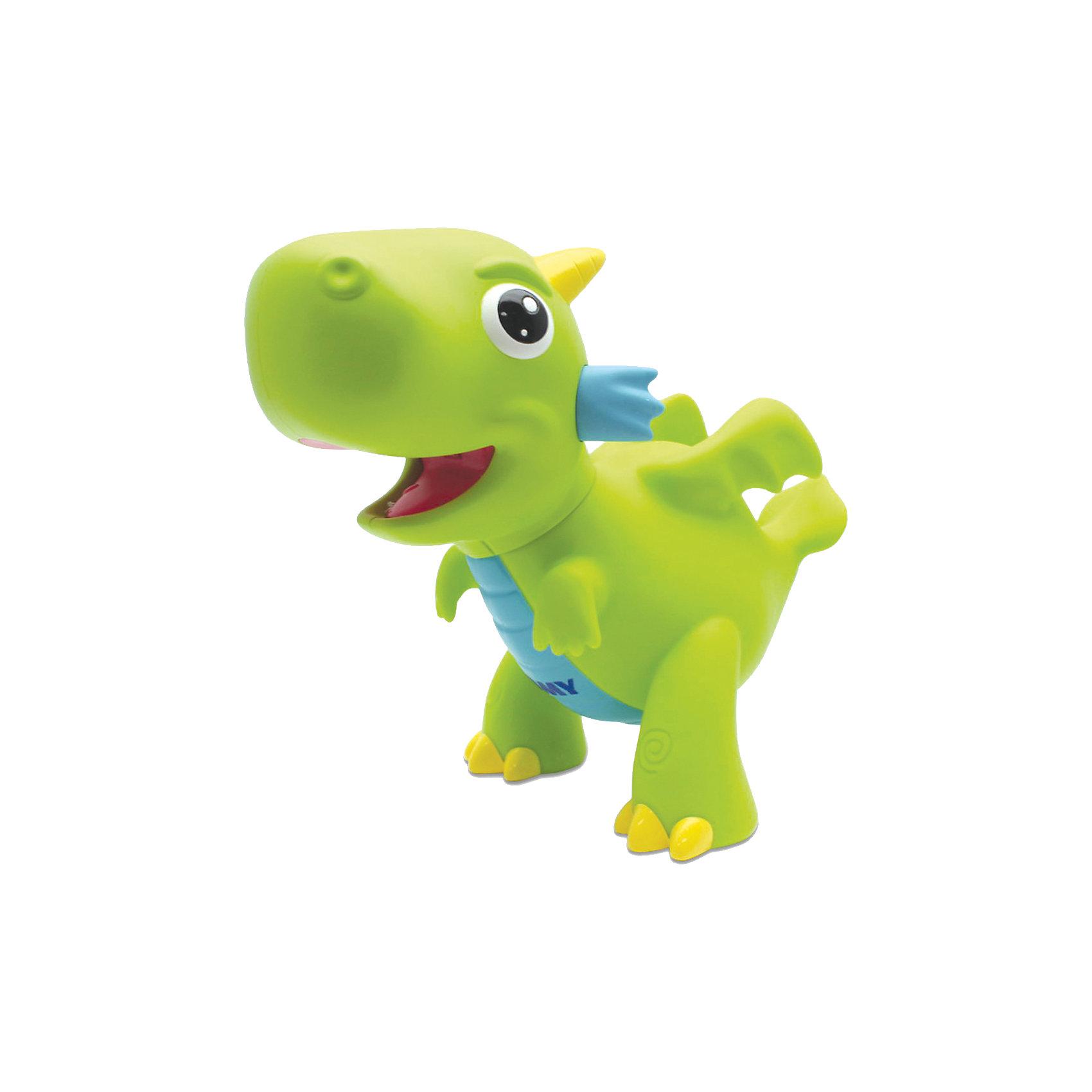 Игрушка  для ванной Водный дракон, TOMYДинамические игрушки<br>Игрушка для ванны Водный дракон, Tomy (Томи) - забавная яркая игрушка, которая развлечет малыша во время купания. Симпатичный зеленый дракончик выпускает яркое пламя как настоящий сказочный дракон. Погрузите игрушку в воду, а затем нажмите ей на животик - из пасти дракончика будут вырываться струи воды с яркой красной подсветкой, что вызовет восторг у Вашего ребенка.<br><br>Дополнительная информация:<br><br>- Материал: пластик.<br>- Требуются батарейки: 3 х LR44 (входят в комплект).<br>- Размер игрушки: 14,5 x 8,2 x 12,7 см. <br>- Вес: 132 гр.<br><br> Игрушку для ванны Водный дракон, Tomy (Томи), можно купить в нашем интернет-магазине.<br><br>Ширина мм: 228<br>Глубина мм: 192<br>Высота мм: 126<br>Вес г: 237<br>Возраст от месяцев: 18<br>Возраст до месяцев: 36<br>Пол: Унисекс<br>Возраст: Детский<br>SKU: 3965959