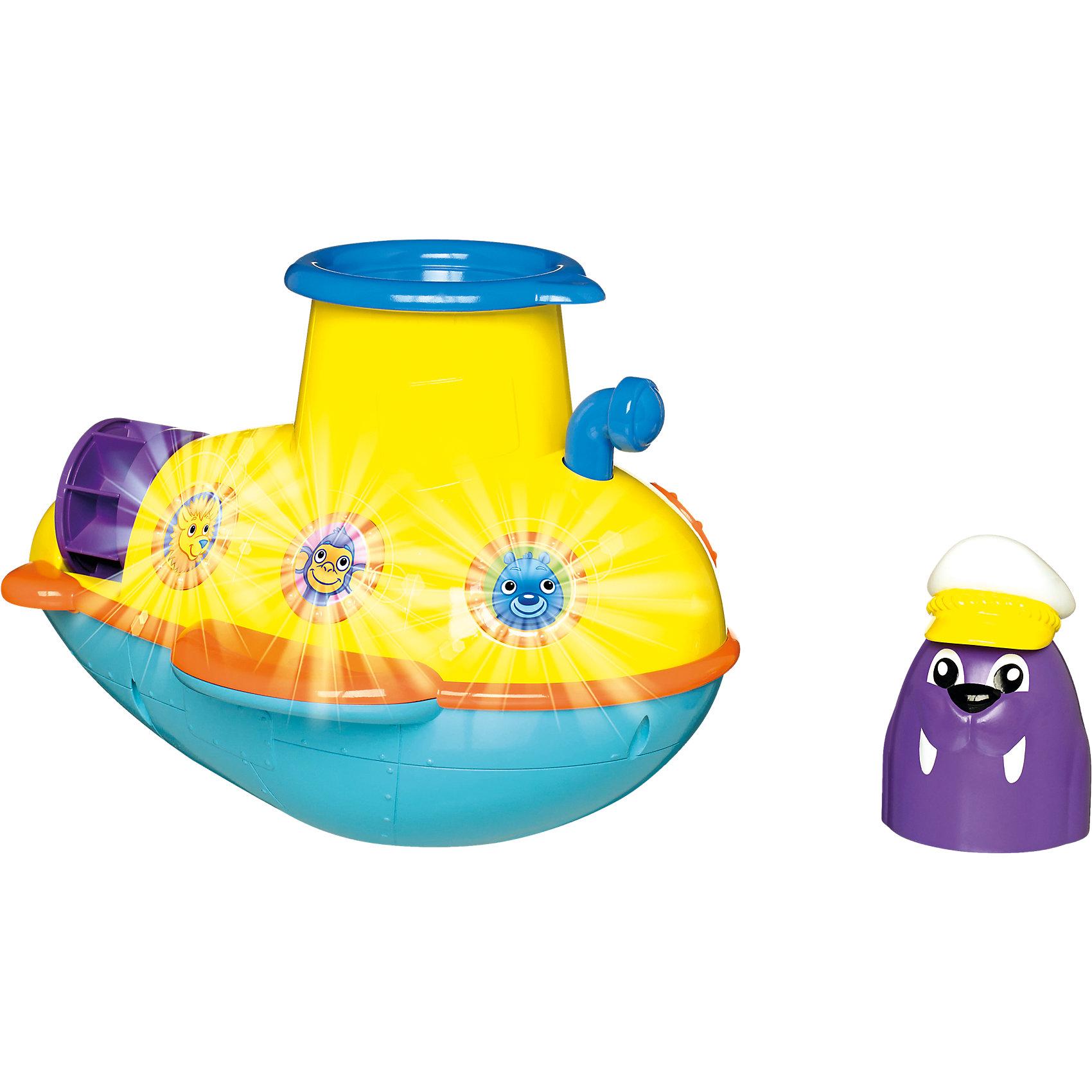 Игрушка  для ванной Подводная лодка, TOMYДинамические игрушки<br>Игрушка для ванны Подводная лодка, Tomy (Томи) - забавная яркая игрушка, которая развлечет малыша во время купания. Красочная лодка под управлением капитана Моржа отправляется в увлекательное исследование морских глубин. Лодка выполнена из качественного пластика и имеет округлую форму без острых углов, удобную для детских ручек. В верхней части лодки находится люк, через который можно увидеть разноцветных рыбок. А если поместить туда капитана моржа и нажать на кнопку запуска он забавно выстрелит в воду. Нажмите на перископ и лодка будет играть веселые морские мелодии и издавать реалистичные морские звуки. Переднее окошко подсвечивается, так что малыш сможет наблюдать за приключениями лодки под водой.<br><br>Дополнительная информация:<br><br>- В комплекте: подводная лодка, фигурка капитана моржа.<br>- Материал: пластик.<br>- Требуются батарейки: 3 х AAA (входят в комплект).<br>- Размер игрушки: 16,6 x 21,8 x 15,4 см. <br>- Вес: 0,54 кг.<br><br> Игрушку для ванны Подводная лодка, Tomy (Томи), можно купить в нашем интернет-магазине.<br><br>Ширина мм: 267<br>Глубина мм: 223<br>Высота мм: 198<br>Вес г: 800<br>Возраст от месяцев: 18<br>Возраст до месяцев: 36<br>Пол: Унисекс<br>Возраст: Детский<br>SKU: 3965960