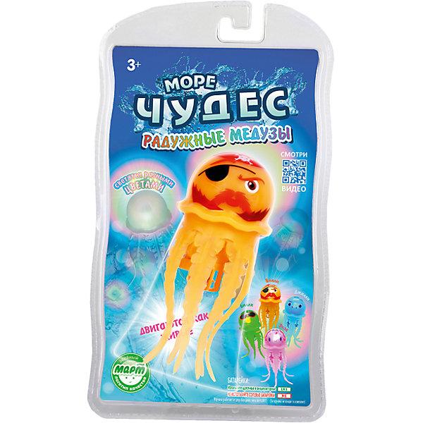 Плавающая радужная медуза Вилли, Море чудесРоборыбки<br>Эта веселая медуза обязательно понравится вашему ребенку! За счет моторчика, встроенного в туловище, медуза опускается на дно и поднимается к поверхности, шевеля щупальцами и повторяя движения настоящего животного, светится, изменяя цвет. Игрушка не требует специального ухода, выполнена из высококачественных материалов, безопасна для детей. Медуза прослужит еще дольше, если после игры вынимать ее из воды. <br><br>Дополнительная информация:<br><br>- Материал: пластик, силикон.<br>- Размер медузы: 12 см. <br>- Элемент питания: 2 батарейки ААА (не входят в комплект).<br>- Светится.<br>- Цвет: оранжевый. <br><br>Радужную медузу Вилли, Море чудес можно купить в нашем магазине.<br><br>Ширина мм: 140<br>Глубина мм: 60<br>Высота мм: 240<br>Вес г: 103<br>Возраст от месяцев: 36<br>Возраст до месяцев: 72<br>Пол: Унисекс<br>Возраст: Детский<br>SKU: 3970427