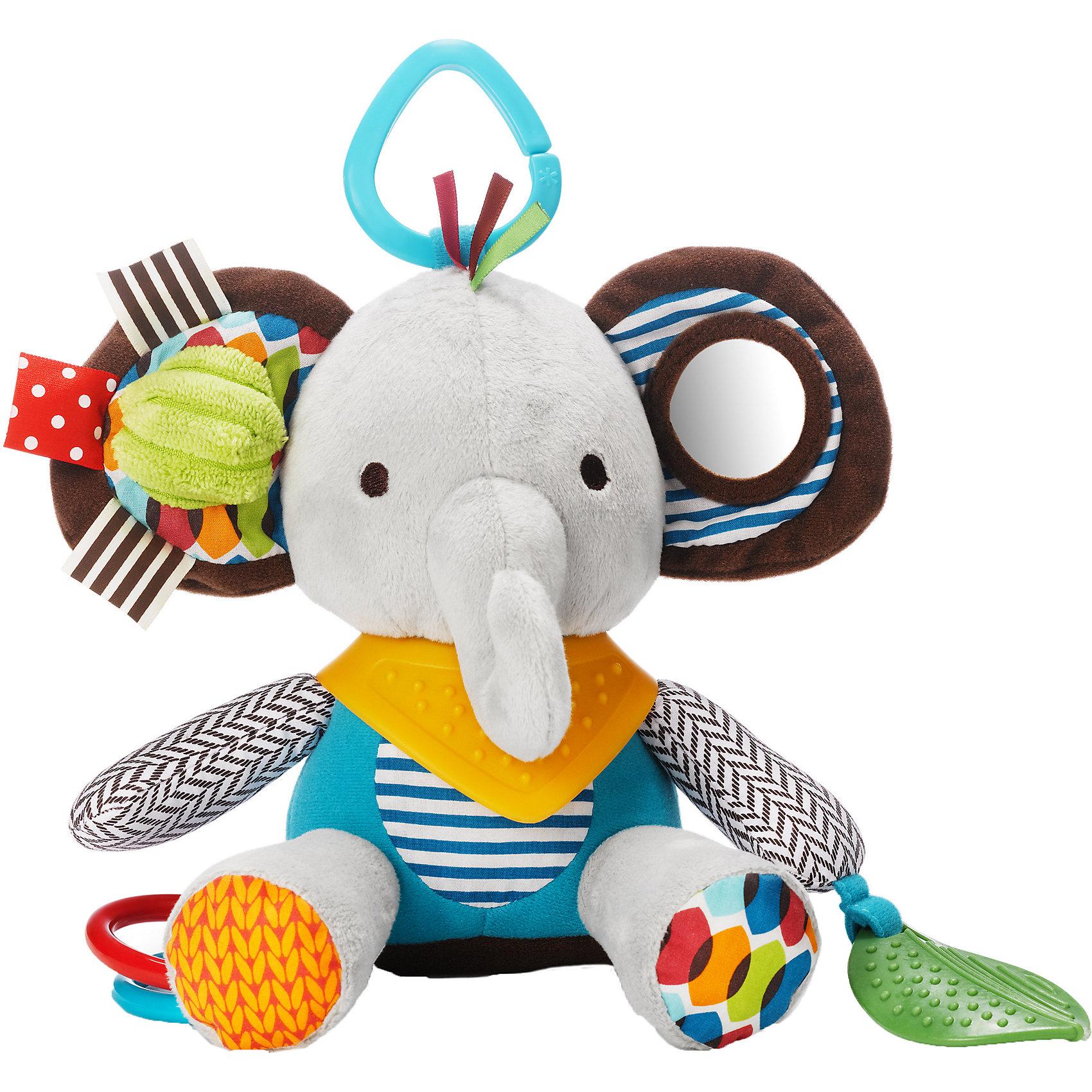 Развивающая игрушка-подвеска Слон, Skip HopПодвески<br>Развивающая игрушка-подвеска Слон, Skip Hop<br><br>Характеристики:<br><br>• В набор входит: игрушка<br>• Состав: текстиль, каучук<br>• Размер: 13 * 7,5 * 25,5 см.<br>• Для детей в возрасте: от 6 месяцев<br>• Страна производитель: Китай<br><br>Наполненные новыми разными ощущениями текстур и звуков, маленькие ручки будут заняты изучением изгибов и шуршаний благодаря этой озорной обезьянке. Игрушка оснащена прорезиненными деталями для прорезывания зубов, безопасным зеркальцем, шуршащими элементами и подвеской для крепления на коляску и кроватку. <br><br>Развивающую игрушку-подвеску Слон, Skip Hop можно купить в нашем интернет-магазине.<br><br>Ширина мм: 330<br>Глубина мм: 170<br>Высота мм: 111<br>Вес г: 152<br>Цвет: mehrfarbig<br>Возраст от месяцев: 1<br>Возраст до месяцев: 36<br>Пол: Унисекс<br>Возраст: Детский<br>SKU: 3971280