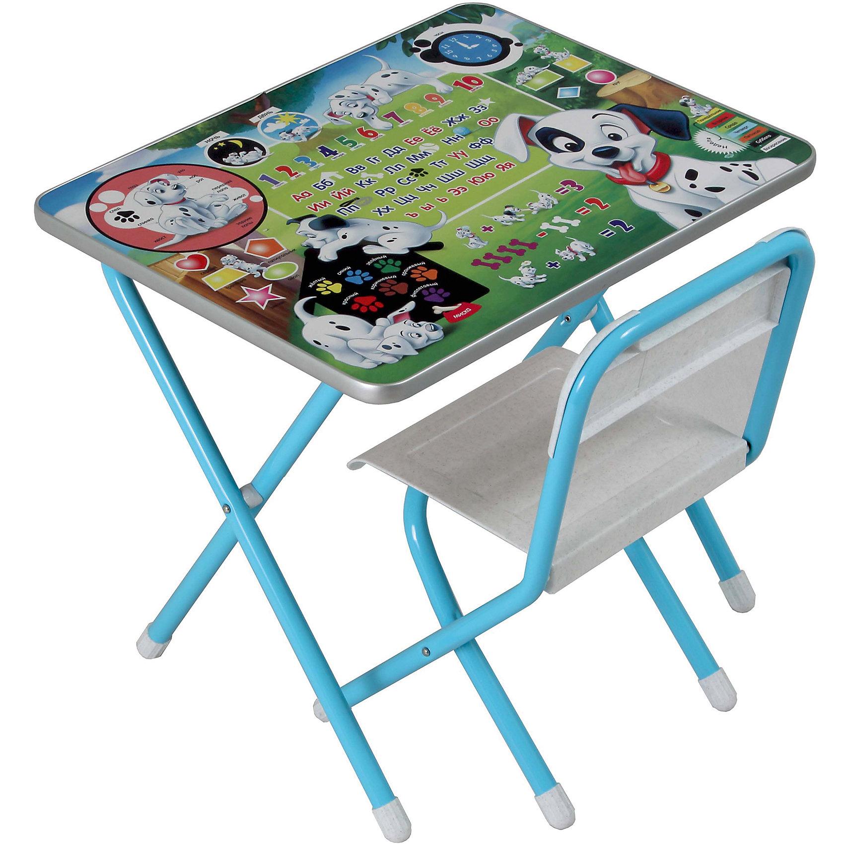 Набор мебели 101 далматинец (2-5 лет), Дэми, голубойДетские столы и стулья<br>Набор детской складной мебели 101 далматинец, Дэми - удобная практичная мебель для малышей и дошкольников. Она разработаны для детей старше 2 лет и учитывают все физиологические и анатомические особенности малышей. Комплект одинаково хорошо подойдет и для учебных занятий и для рисования, творчества и настольных игр. В наборе комфортный стульчик со спинкой и столик. На поверхности столешницы расположена красочная игровая панель с ламинированным покрытием. Яркие обучающие рисунки познакомят ребенка с цифрами и буквами и развлекут веселыми тематическими играми. Все предметы компактно складываются и занимают мало места в комнате.<br><br>Дополнительная информация:<br>В набор входит боковой пенал (пластмасса).<br>- Материал: металлический каркас, пластик.<br>- Размер столешницы: 45 х 60 см.<br>- Высота до плоскости столешницы: 46 см.<br>- Высота сиденья: 26 см. <br>- Размер упаковки: 74 х 64 х 15 см.<br>- Вес: 8 кг.<br><br>Набор детской складной мебели 101 далматинец, Дэми, можно купить в нашем интернет-магазине.<br><br>Ширина мм: 740<br>Глубина мм: 640<br>Высота мм: 150<br>Вес г: 8000<br>Возраст от месяцев: 24<br>Возраст до месяцев: 60<br>Пол: Унисекс<br>Возраст: Детский<br>SKU: 3971632