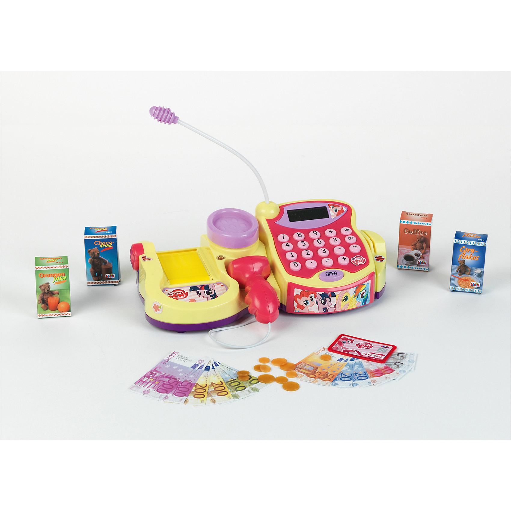 Электронная касса  My Little Pony, KleinЭлектронная касса  My Little Pony (Моя маленькая Пони) обязательно понравится вашей девочке. С такой кассой играть в магазин гораздо интереснее и веселее!  Имеет жидкокристаллический монитор и кнопки,  работает как калькулятор. При нажатии кнопки OPEN открывается отсек для денег; при нажатии на кнопку сканера, раздается характерных звук и мигает лампочка; при взвешивании на весах, на мониторе появляются цифры; транспортировочная лента прокручивается с помощью колесика. Этот увлекательный набор подарит много радости вашему ребенку, прекрасно подходит для сюжетно-ролевых игр, развивает навыки счета, моторику и воображение. Выполнен из высококачественного пластика, безопасен для детей. <br><br>Дополнительная информация:<br><br>- Элемент питания: 2 батарейки R6 (в комплект не входят).<br>- Материал: пластик.<br>- Комплектация: кредитная карта, деньги, продукты (кукурузные хлопья, апельсиновый сок, кофе, шоколадный напиток), касса, весы, сканер. <br>- Размер кассы: 31 см. <br><br>Электронную кассу  My Little Pony (Май Литл Пони) Klein можно купить в нашем магазине.<br><br>Ширина мм: 345<br>Глубина мм: 170<br>Высота мм: 200<br>Вес г: 1038<br>Возраст от месяцев: 36<br>Возраст до месяцев: 120<br>Пол: Женский<br>Возраст: Детский<br>SKU: 3972643