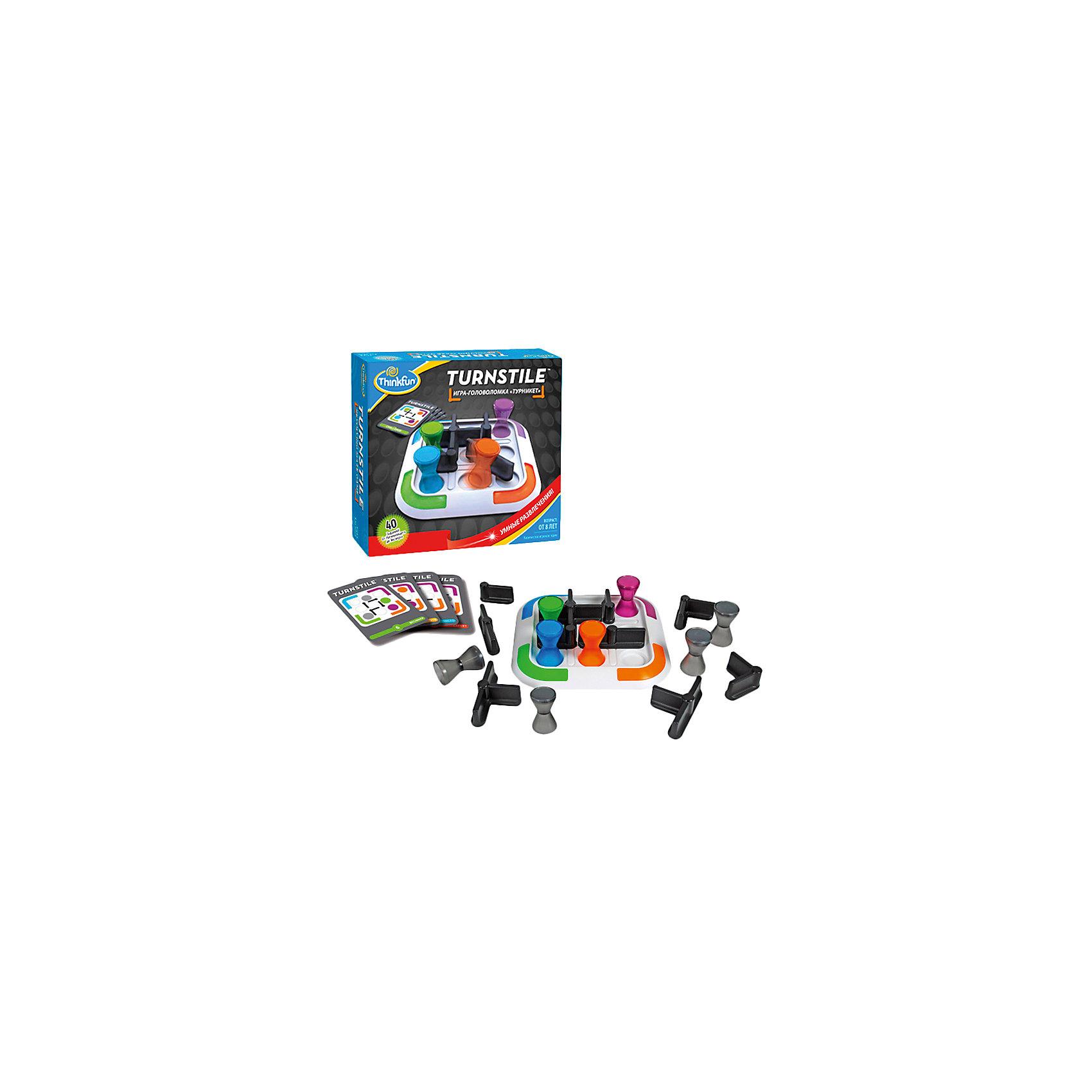 Игра Турникет, ThinkFunНастольные игры для всей семьи<br>Эта увлекательная  игра обязательно понравится вашему ребенку и разнообразит его досуг.  Ее можно брать с собой куда угодно и весело играть вместе с друзьями. Принцип игры: надо переместить все цветные фигурки в углы игрового поля, в соответствии с их цветом. Карточки содержат задания четырех уровней сложности. На обратных сторонах у них приведены решения соответствующих заданий. Выберите карточку с заданием и расположите фигурки на игровом поле в соответствии со схемой, представленной на карточке. Игрок может перемещать любую фигурку, стараясь привести её в свой угол игрового поля (в соответствии с цветом фишки), вращая при этом турникеты. <br>Игра прекрасно развивает внимание, мышление, память, в нее можно играть, как одному, так и с компанией. <br><br>Дополнительная информация:<br><br>- Комплектация: игровое поле - 1 шт,  фишки цветные - 4 шт, фишки серые - 4 шт, турникеты различной конфигурации - 10, карточки с заданиями - 40 шт, фирменный мешочек, инструкция.<br>- Материал: картон, пластик<br>- Размер игрового поля: 17 х 17 см. <br>- Размер фишки: 4,5 см. <br><br>Игру Турникет, ThinkFun можно купить в нашем магазине.<br><br>Ширина мм: 225<br>Глубина мм: 64<br>Высота мм: 203<br>Вес г: 610<br>Возраст от месяцев: 96<br>Возраст до месяцев: 2147483647<br>Пол: Унисекс<br>Возраст: Детский<br>SKU: 3972649