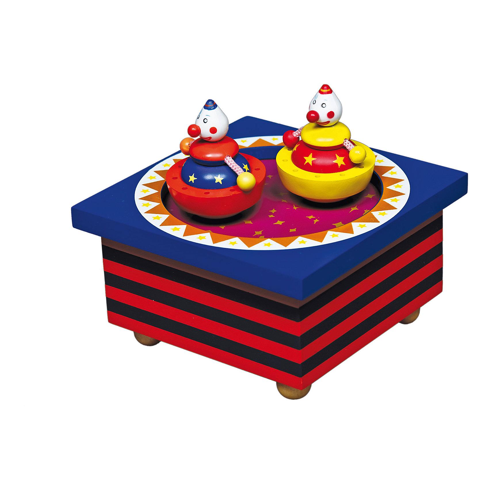 Музыкальная шкатулка Цирк, TrousselierПредметы интерьера<br>Чудесная музыкальная шкатулка Цирк, Trousselier, станет замечательным подарком для девочки любого возраста. Малышек от 3 лет она заинтересует как забавная музыкальная игрушка, девочек постарше - как изысканный модный аксессуар для украшения интерьера. <br>На крышке расположились две яркие фигурки клоунов, стоит только завести шкатулку ключом, хранящемся на дне, как фигурки начинает плавно вращаться под мелодию Ф. Шуберта Серенада. Шкатулка также может послужить началом оригинальной коллекции музыкальных шкатулок. Упакована в подарочную коробку Trousselier. <br><br>Дополнительная информация:<br><br>- Материал: дерево.<br>- Размер шкатулки: 11,5 x 11,5 x 7 см.<br>- Размер упаковки: 13 х 13 х 11 см. <br>- Вес: 0,4 кг.<br><br>Музыкальную шкатулку Цирк, Trousselier, можно купить в нашем интернет-магазине.<br><br>Ширина мм: 111<br>Глубина мм: 111<br>Высота мм: 70<br>Вес г: 417<br>Возраст от месяцев: 0<br>Возраст до месяцев: 120<br>Пол: Унисекс<br>Возраст: Детский<br>SKU: 3972701